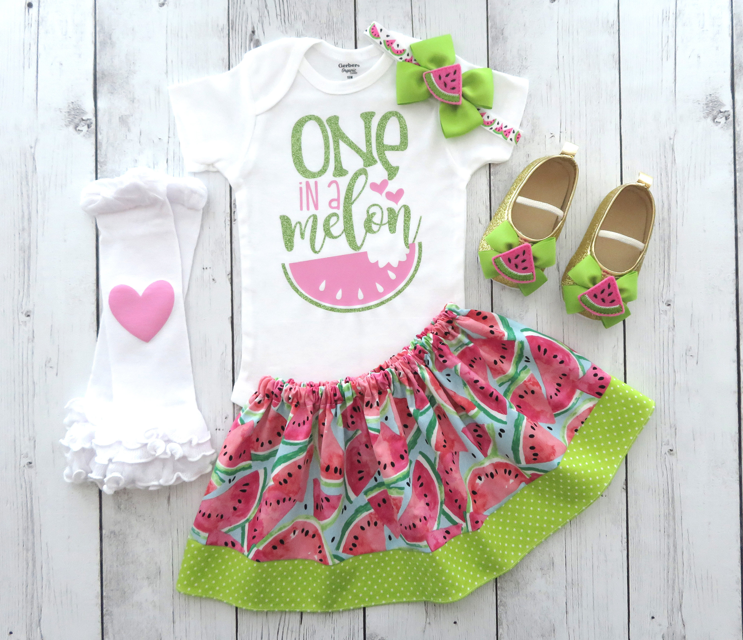 One in a Melon First Birthday Outfit - watermelon 1st bday, watermelon outfit, summer birthday, one year birthday outfit, 1st bday outfit