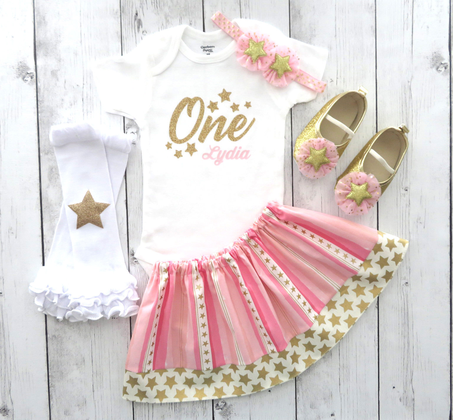 Twinkle Twinkle Little Star First Birthday Outfit in Pink and Gold - twinkle star birthday girl, twinkle twinkle birhtday outfit girl