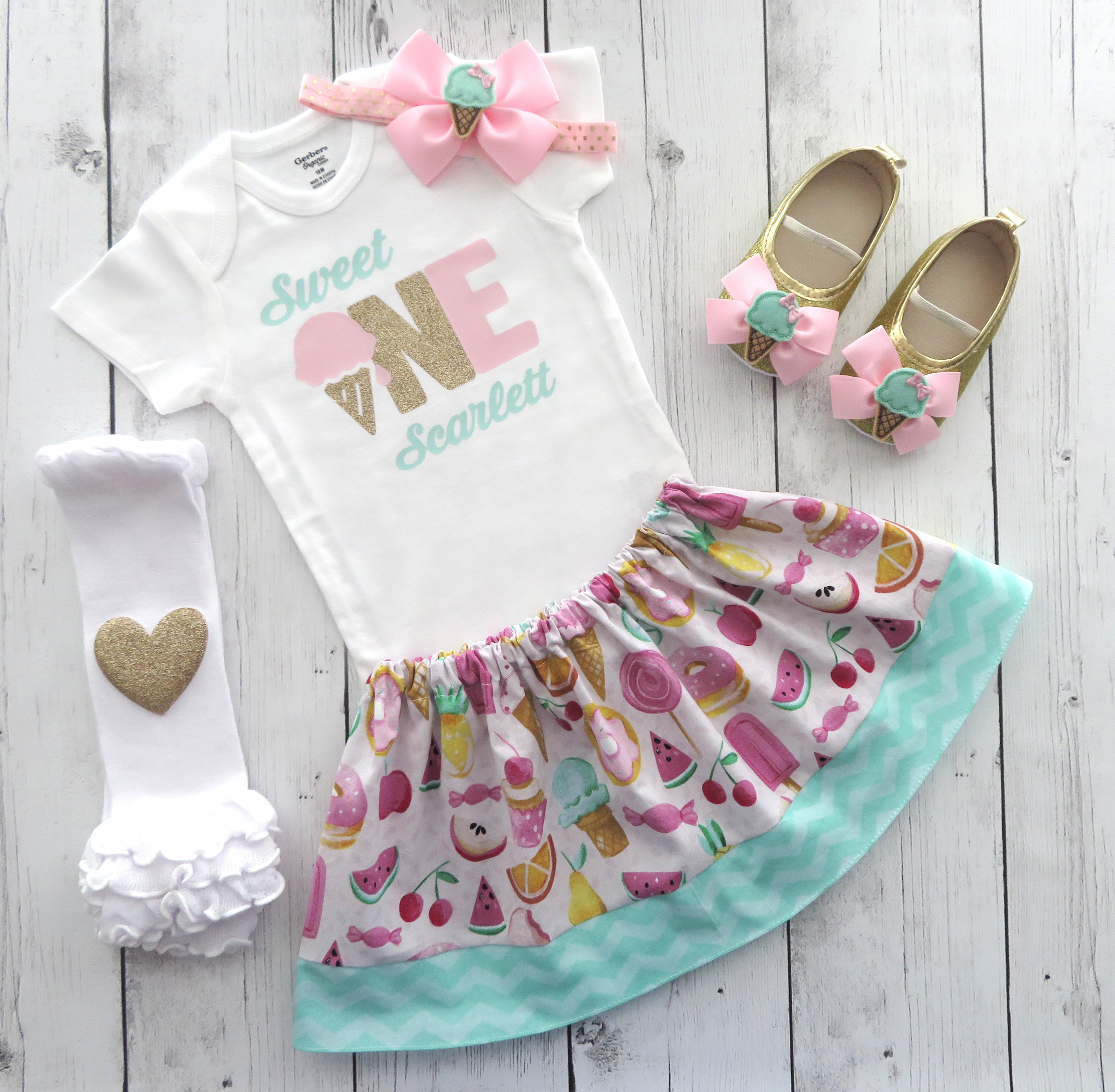 Sweet One First Birthday Outfit in pink mint and gold - ice cream first birthday girl, ice cream shoes, sweet one personalized