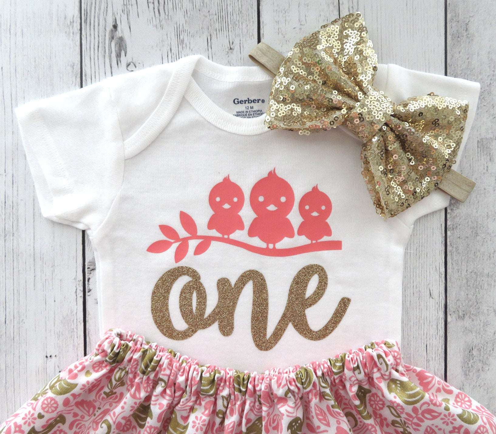 Birds First Birthday Outfit - spring birthday outfit, 1st birthday outfit birds, hibiscus, 1st birthday outfit girl, summer birthday outfit