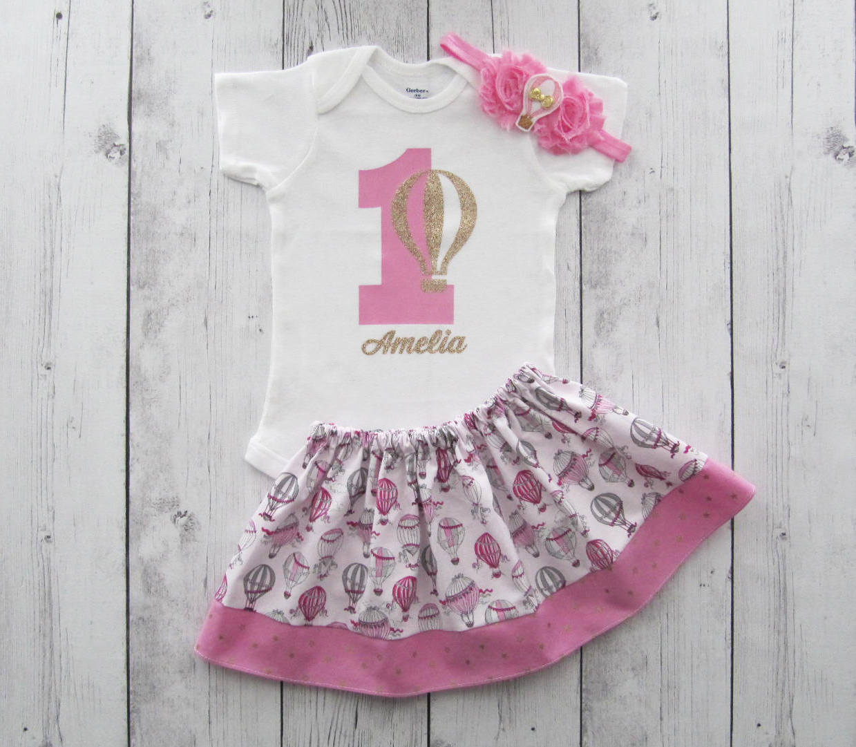 Pink Gold Hot Air Balloon Birthday Oufit for baby girl - gold bow, hot air balloon birthday outfit, girl first birthday outfit, pink gold