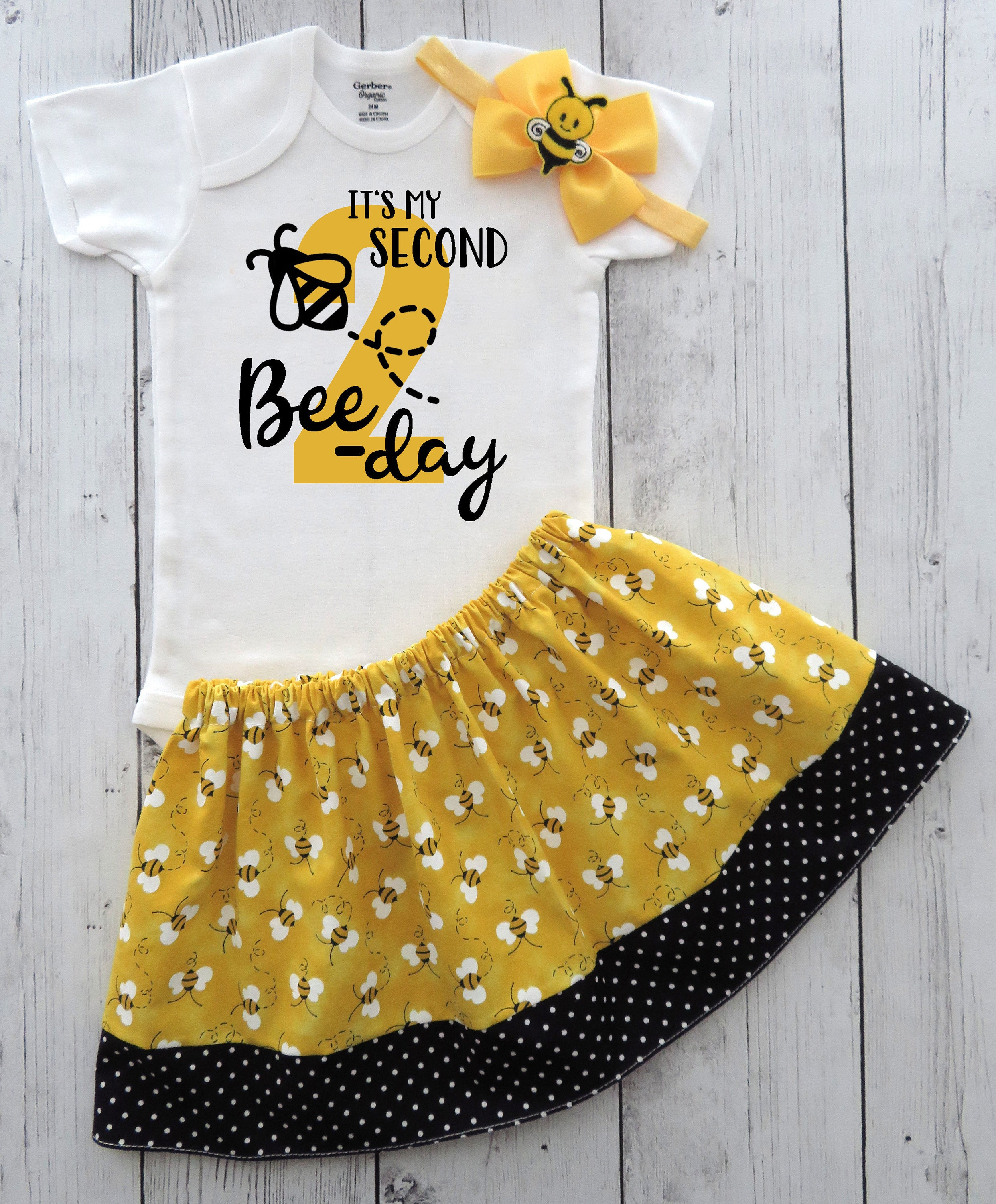 Bee-day Second Birthday Outfit for baby girl - yellow black, bumble bee girl birthday outfit, bumblebee skirt, 2nd bday outfit girl