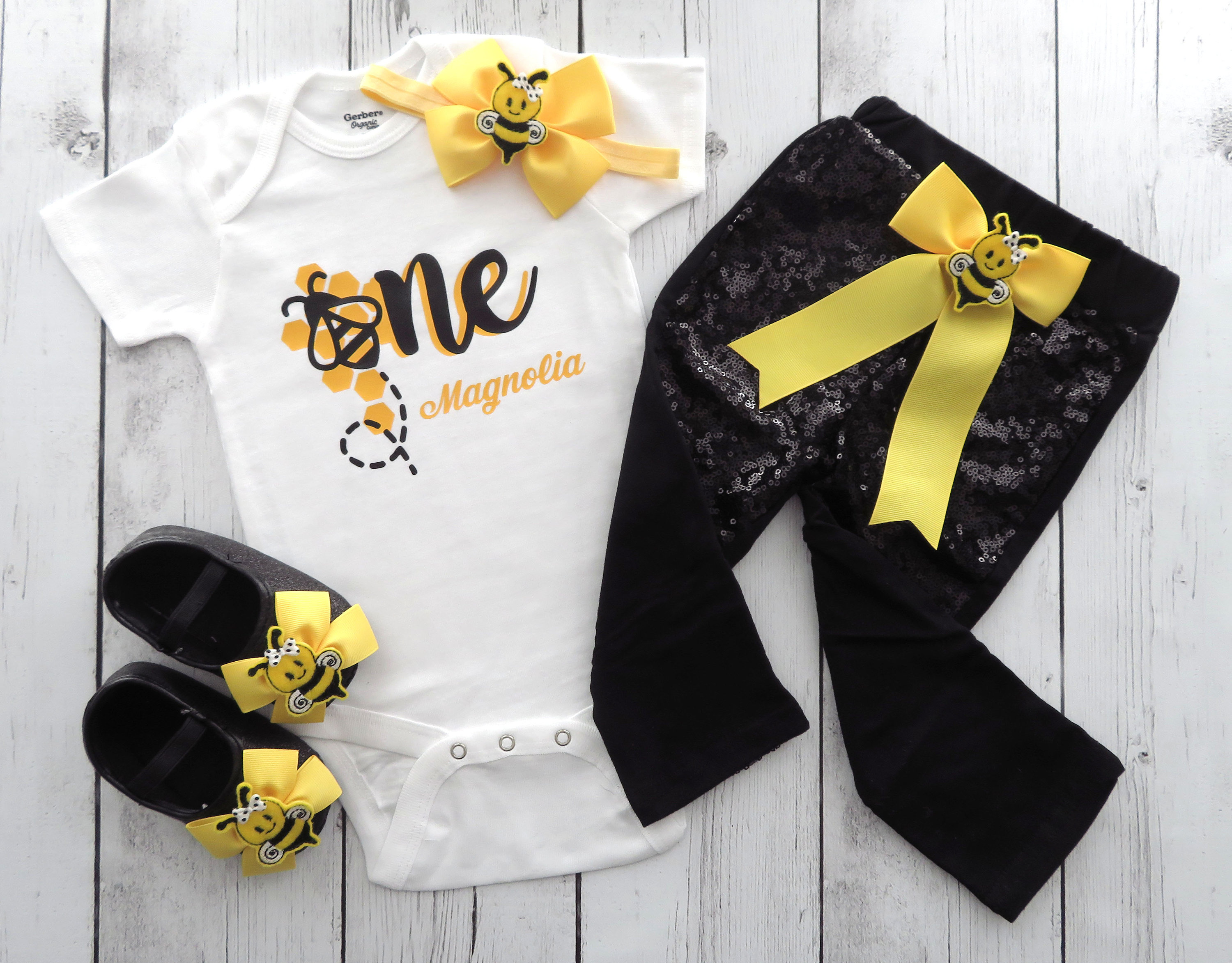 Bumble Bee First Birthday Outfit for baby girl - yellow black, bumble bee girl birthday outfit, sequin pants, first birthday outfit girl
