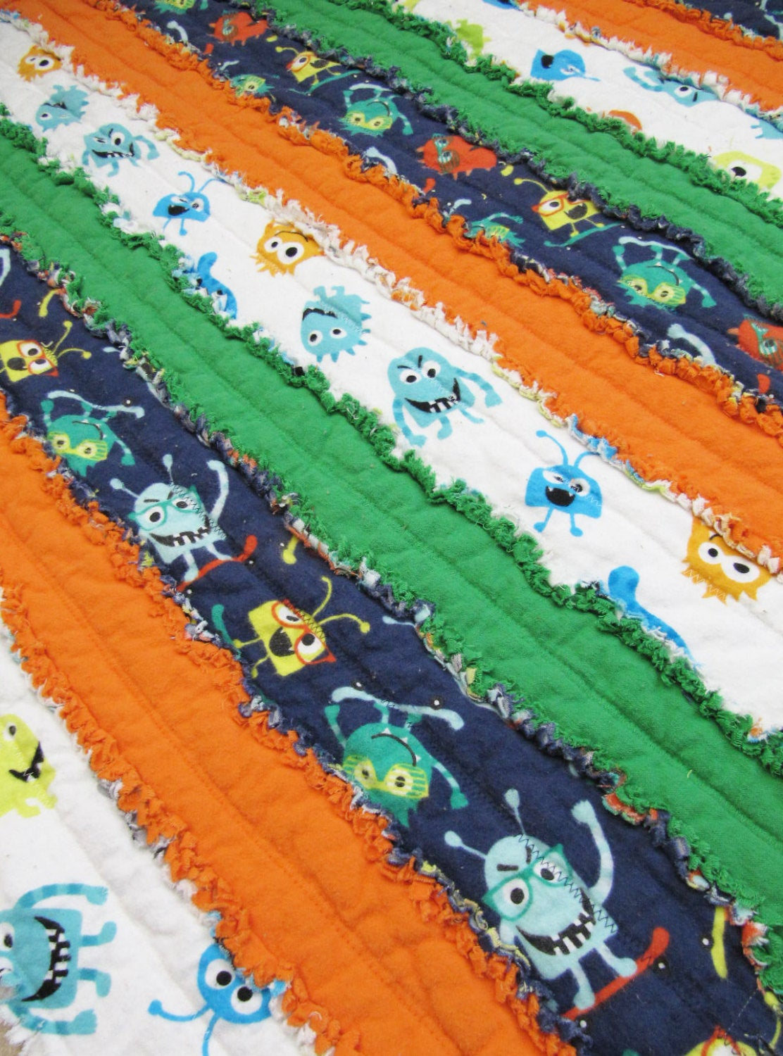 Monster Toddler or Baby size Rag Quilt - orange, green, navy, toddler blanket, baby boy quilt, alien, jelly roll quilt