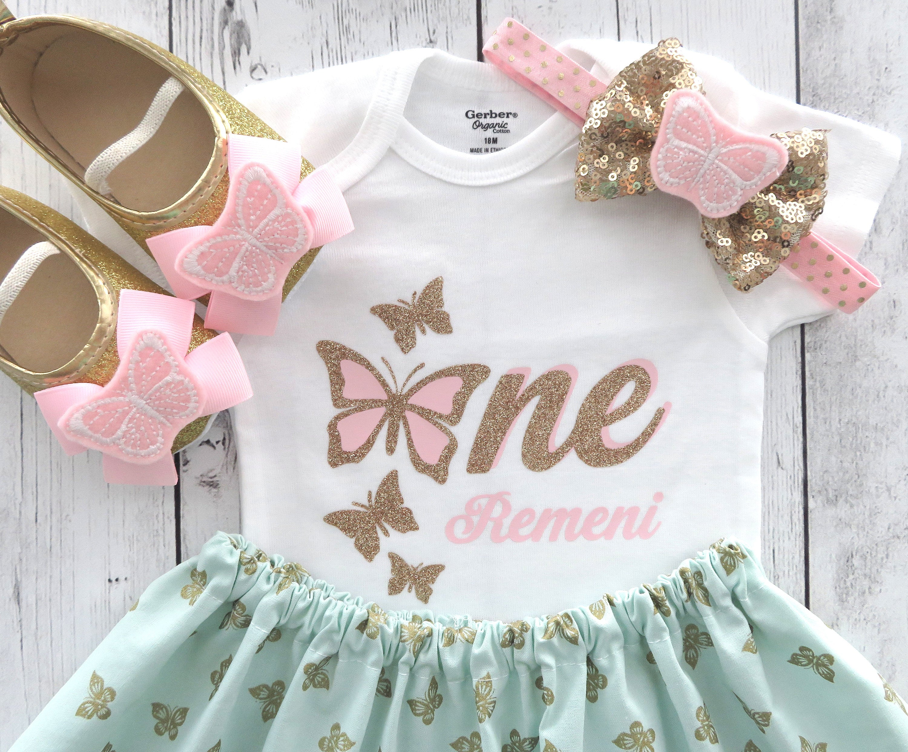Butterfly First Birthday Outfit in pink, mint and gold - butterfly dress girl, butterfly birthday, pink gold onesie, butterfly birthday