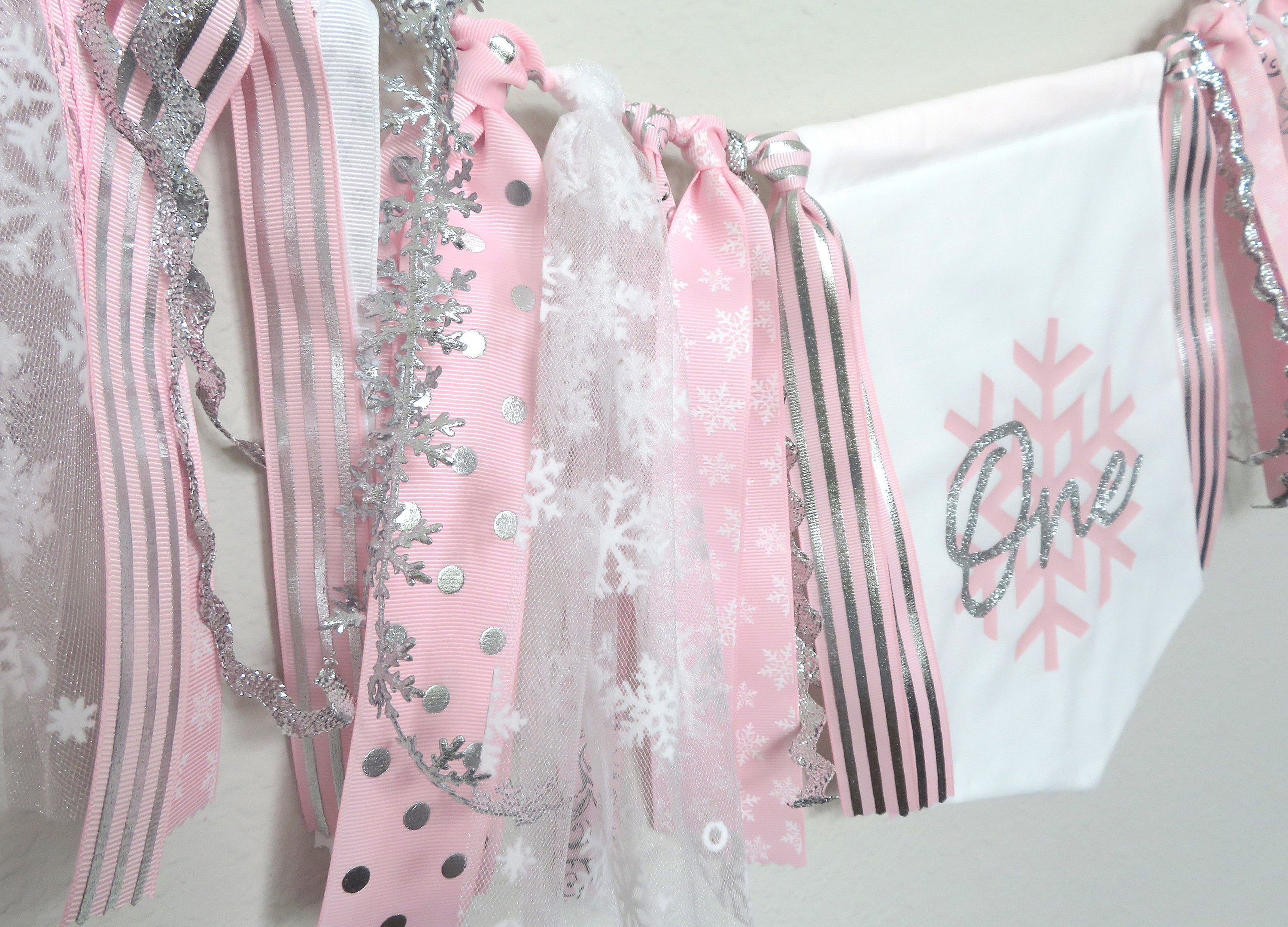 Snowflake High Chair Banner for First Birthday in pink and silver - winter ONEderland banner, snowflake banner, winter onederland decor