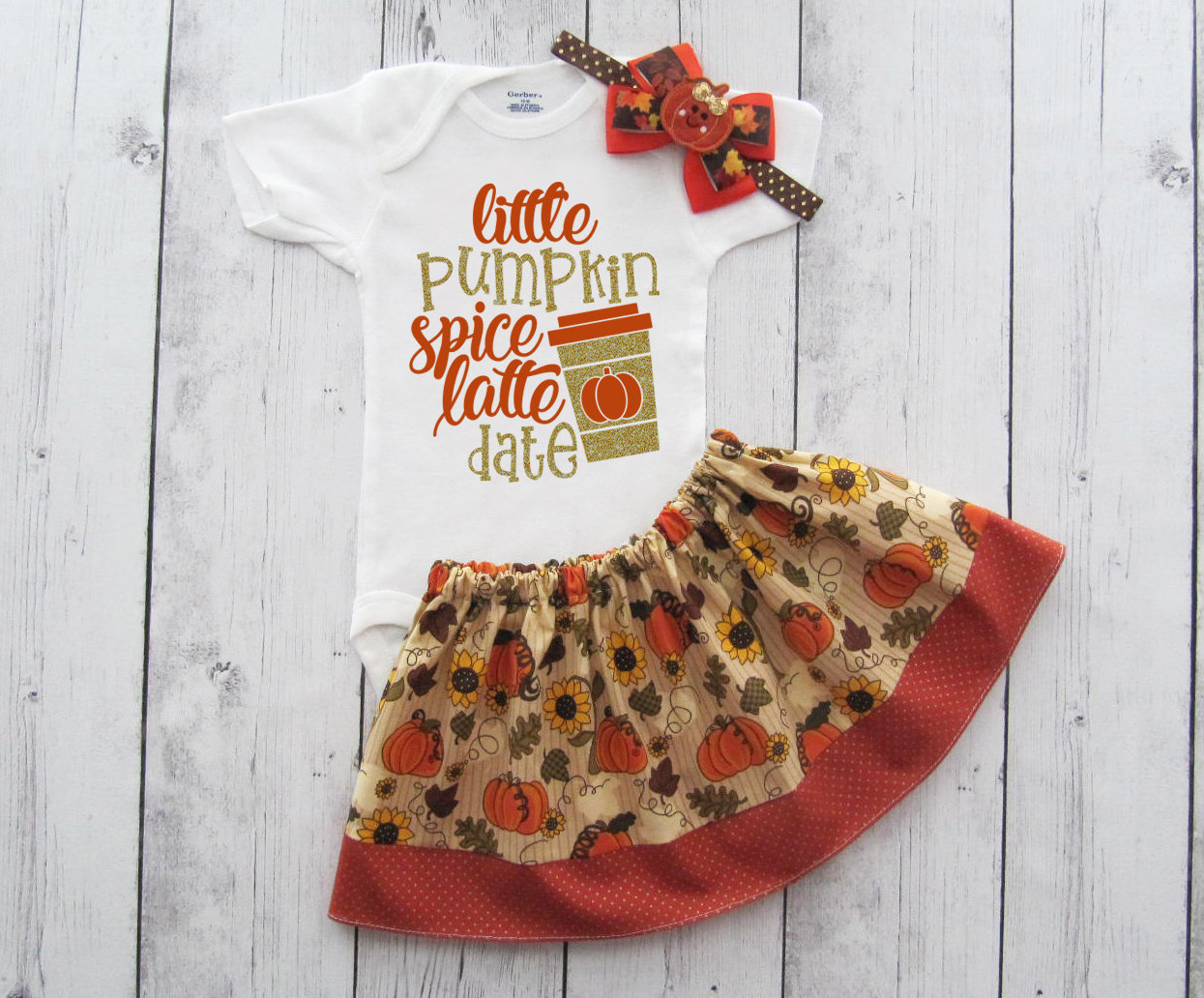 Little Pumpkin Spice Latte Date Outfit - baby girl fall outfit, pumpkin spice latte onesie, PSL date, fall outfit girl, pumpkin spice shirt