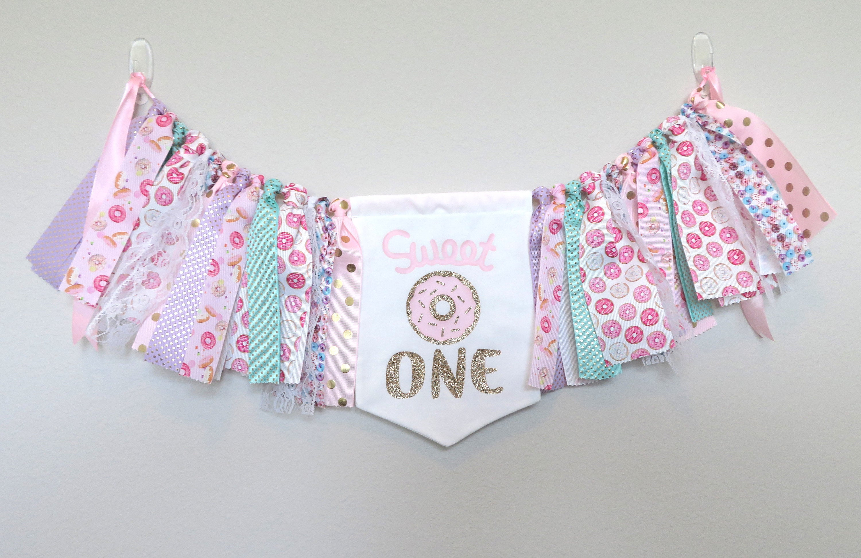 Donut High Chair Banner for First Birthday -sweet one banner, donut pennant, donut grow up, donut bunting, donut 1st bday party, donut decor