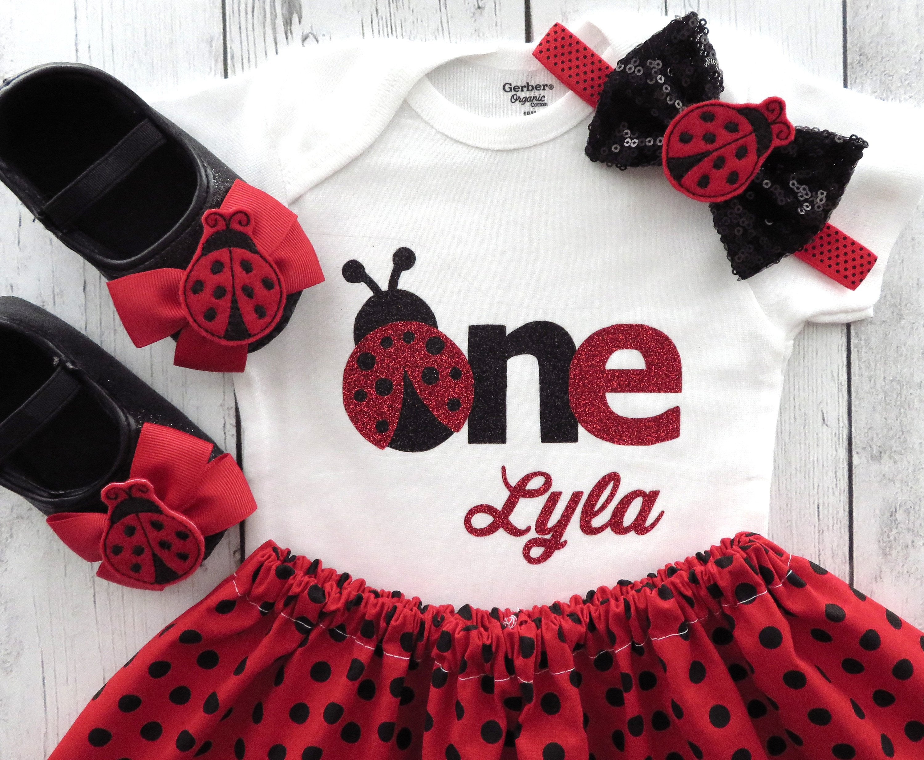 Ladybug First Birthday Outfit - girl 1st birthday outfit, red black, personalized, ladybug one name, ladybug headband, ladybug birthday girl
