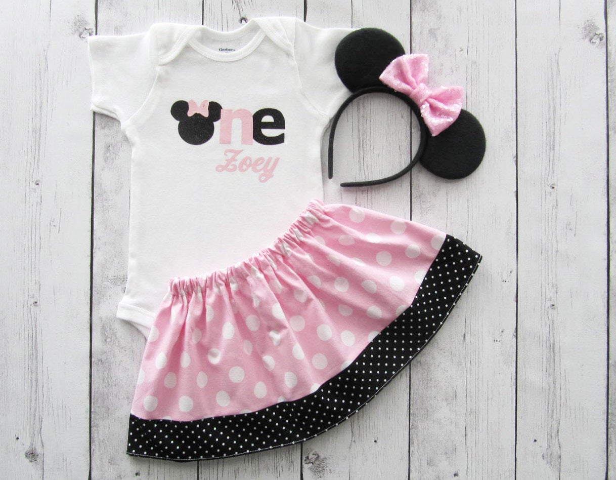 Minnie Mouse First Birthday Outfit in light pink and black - minnie ears, girl birthday outfit, minnie dress, minne mouse birthday,