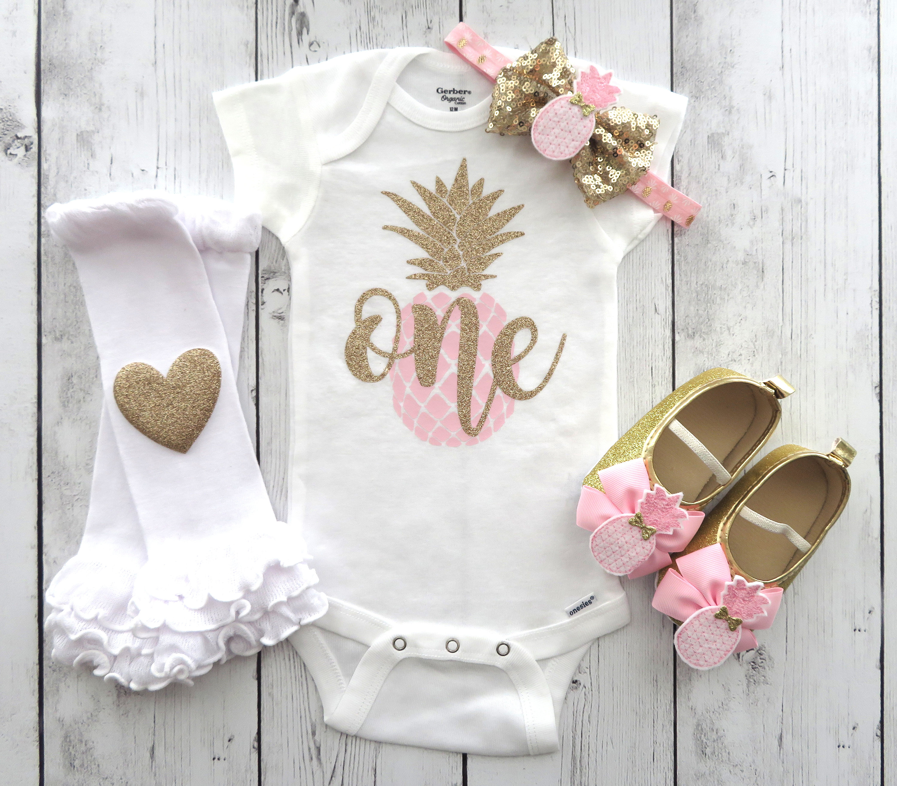 Pineapple First Birthday Onesie and pineapple shoes - pink gold pineapple, first birthday outfit girl, luau birthday, birthday shoes gold