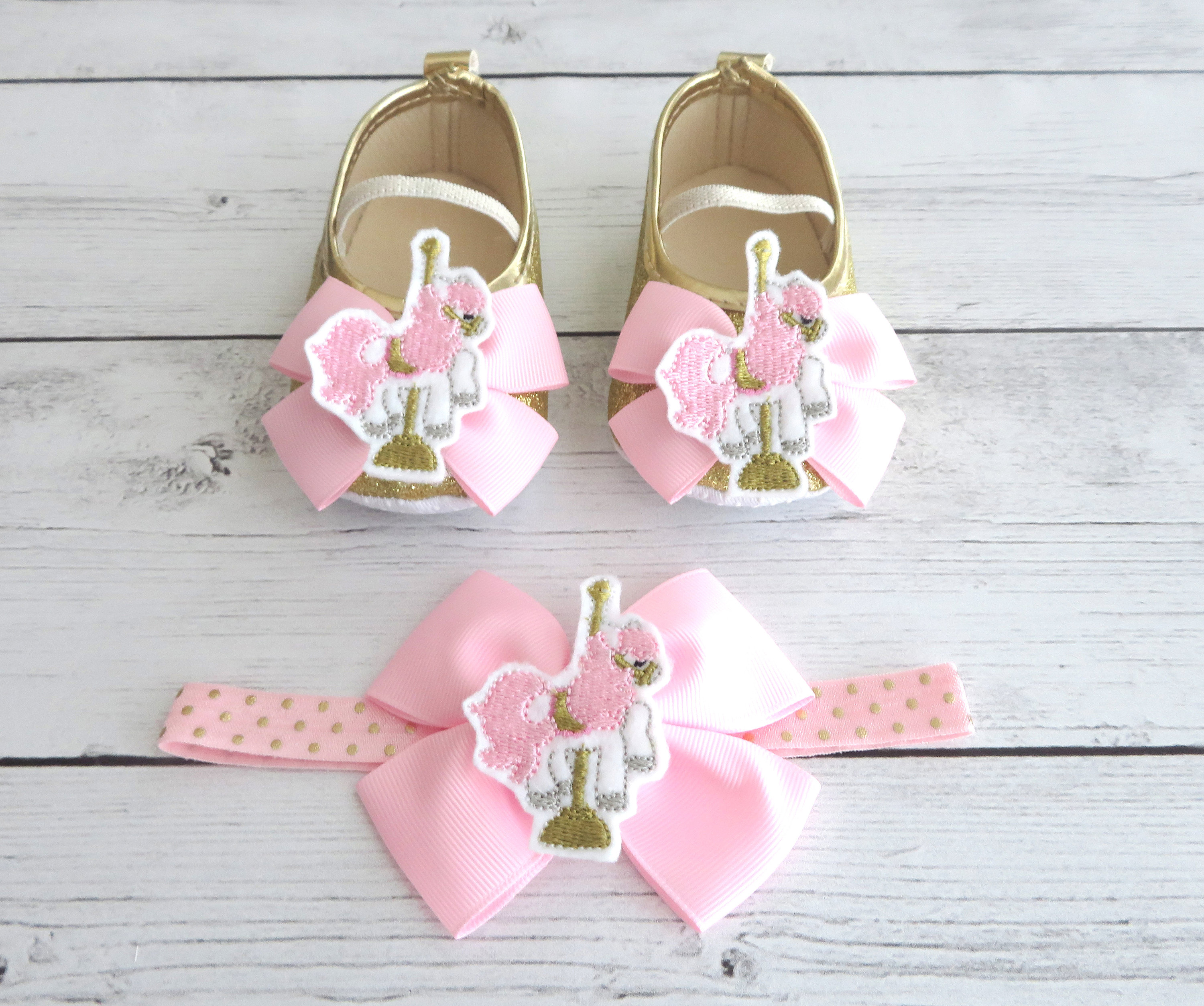 Carousel Horse First Birthday Shoes & Headband for Girl in light pink and gold -merry-go-round, carousel horse 1st bday girl, birthday shoes