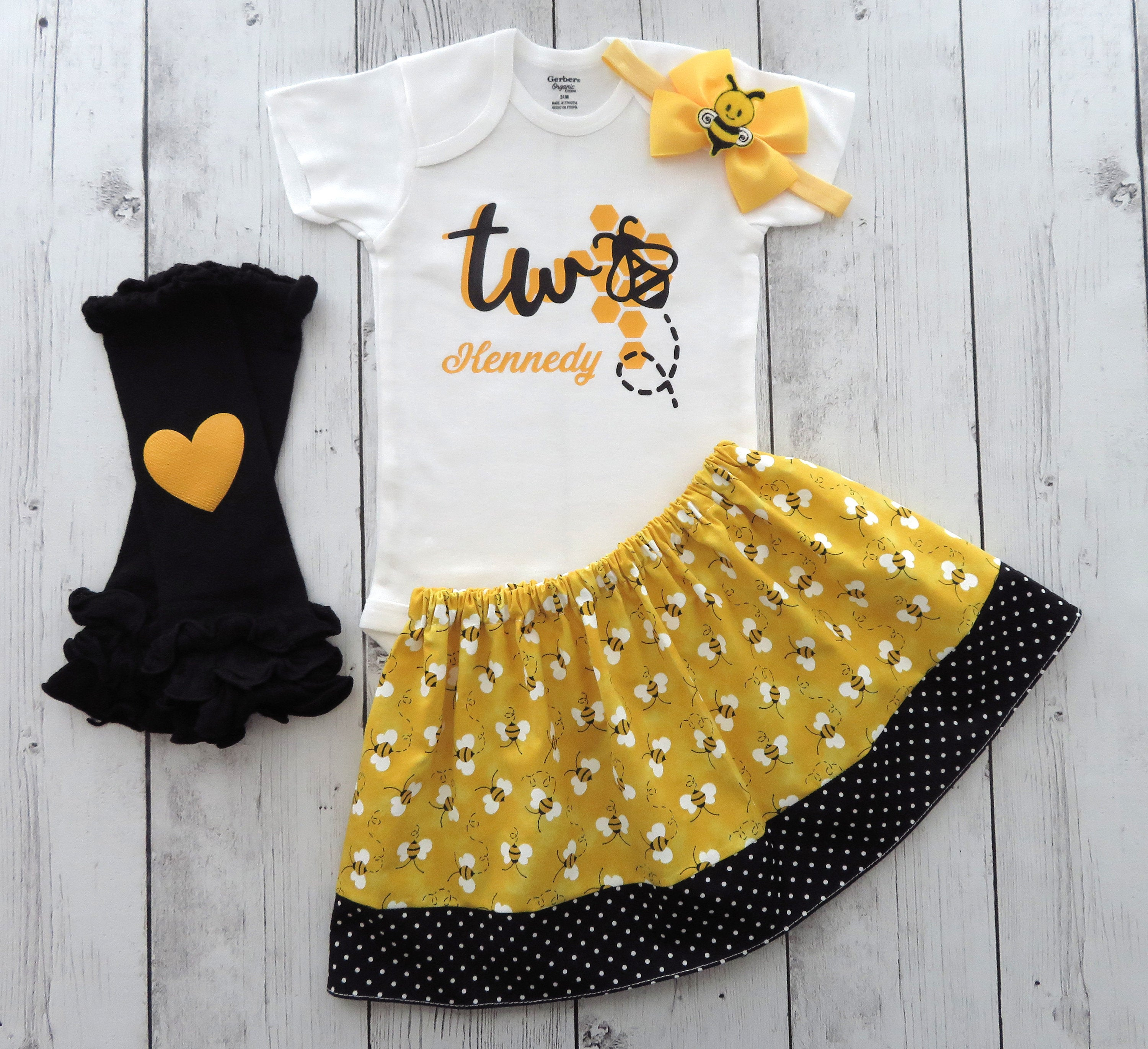 Bumble Bee Second Birthday Outfit for baby girl - yellow black, bumble bee girl birthday outfit, bumblebee skirt, 2nd bday outfit girl