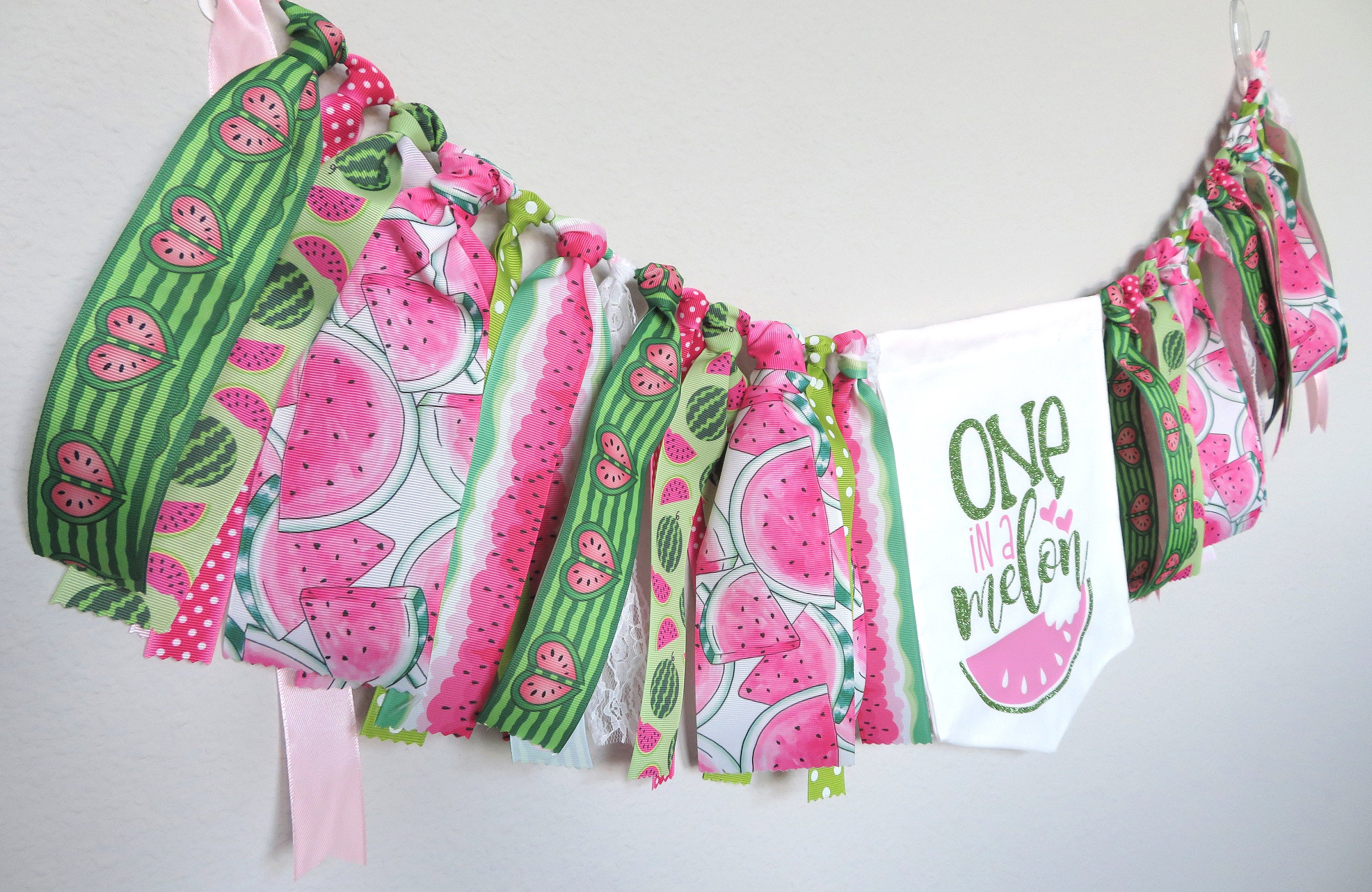 One in a Melon Birthday Banner for First Birthday Party - wall banner, watermelon party decor, watermelon 1st birthday girl, birthday banner