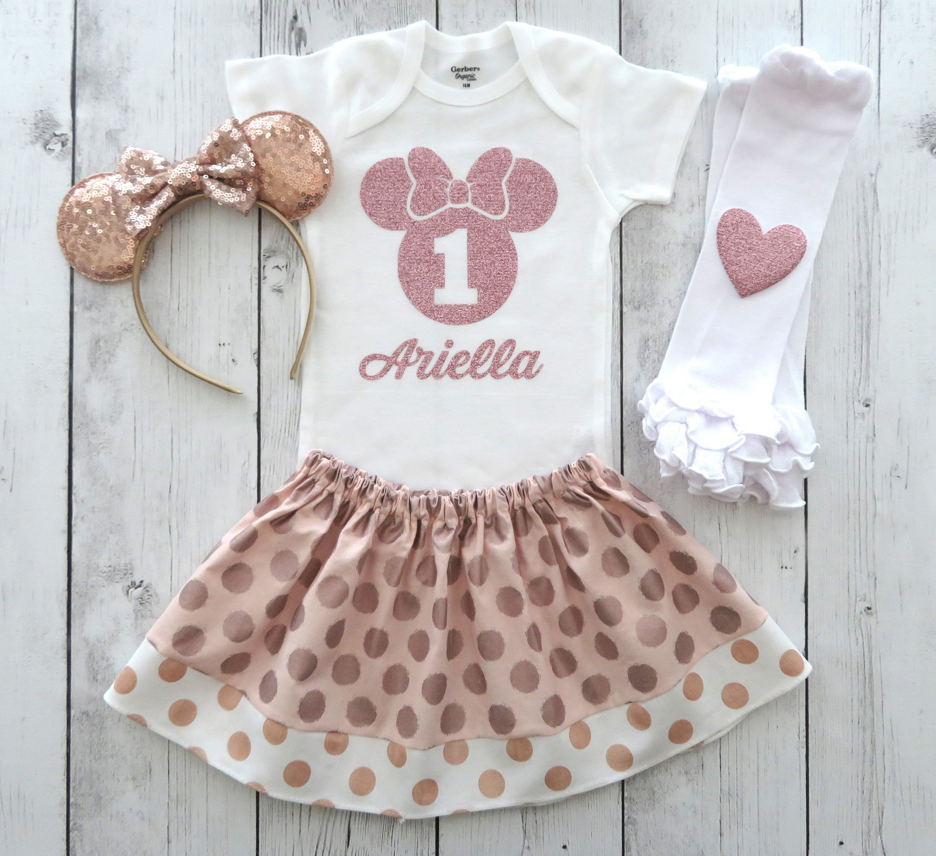 Rose Gold Minnie Mouse First Birthday Outfit for Baby Girl - minnie ears headband, minnie mouse 1st birthday, rose gold birthday outfit