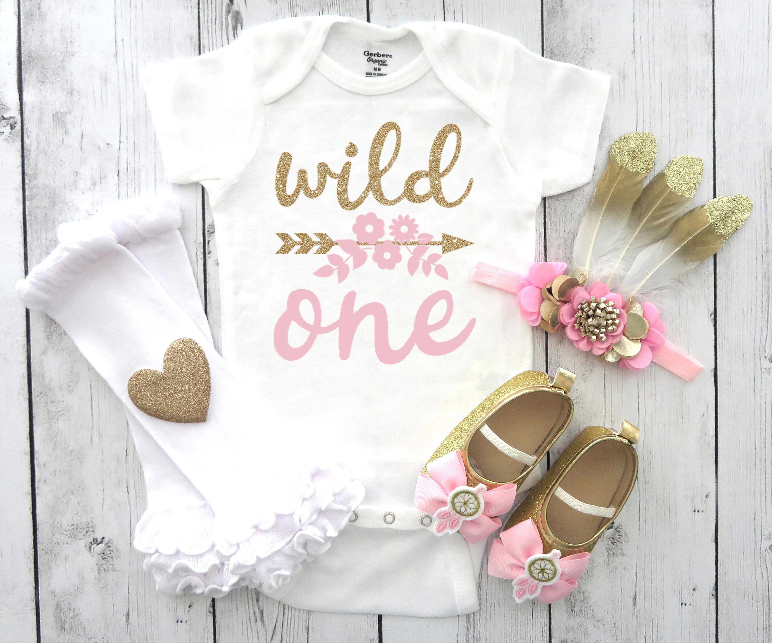 Wild One Birthday Onesie in light pink and gold - first birthday bodysuit girl, wild one birthday shirt, feather headband, mocassins
