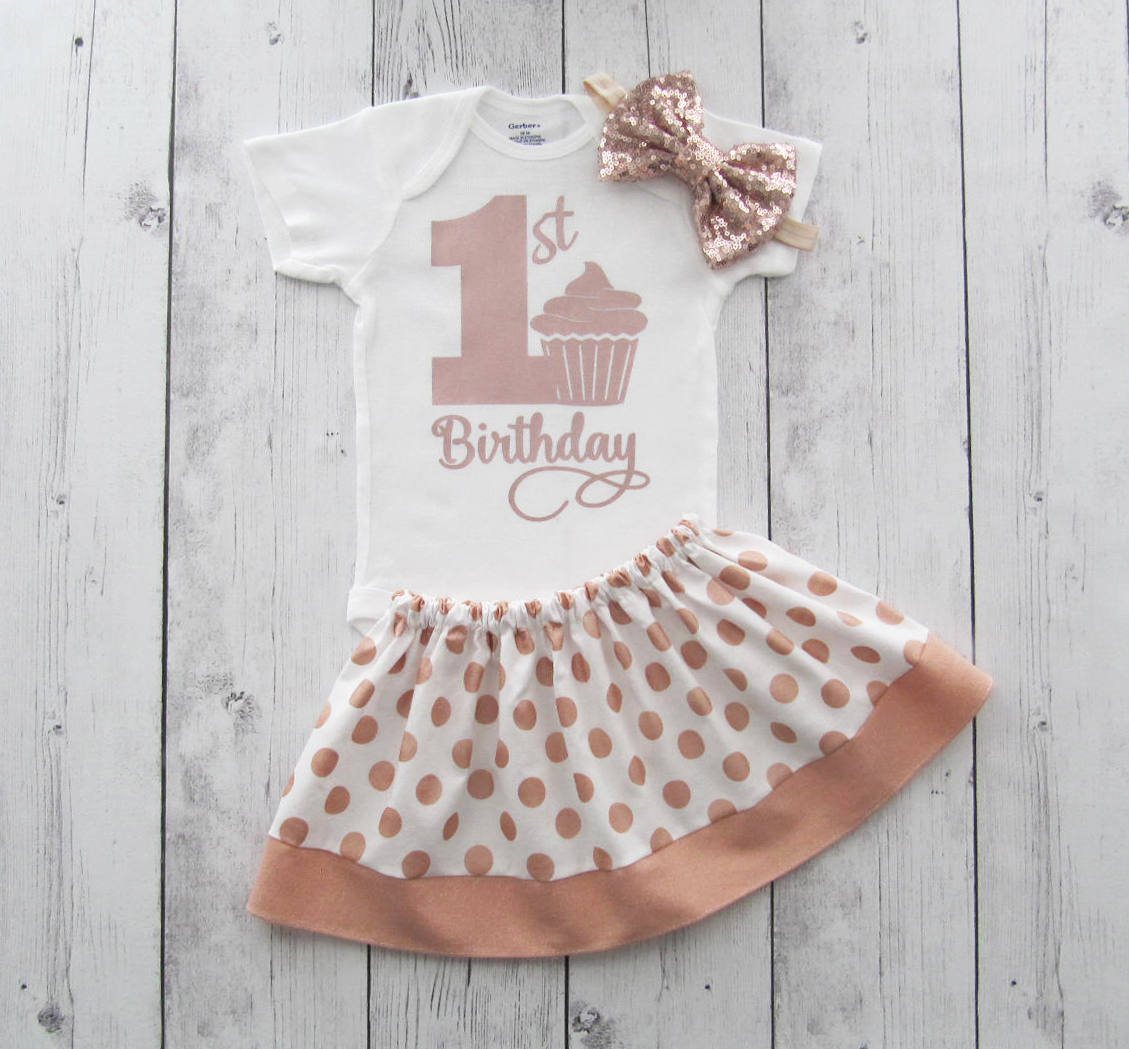 Rose Gold First Birthday Outfit for Girl - dusty rose dress, rose gold birthday girl, rose gold birthday outfit, dusty rose skirt, rose gold