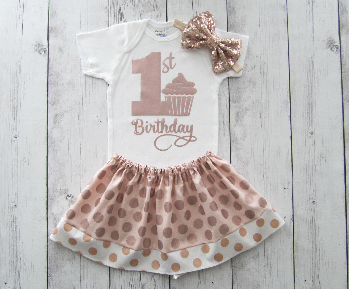 Light Pink and Rose Gold First Birthday Outfit for Girl - dusty rose birthday outfit, rose gold dress girl, rose all day, rose gold glitter
