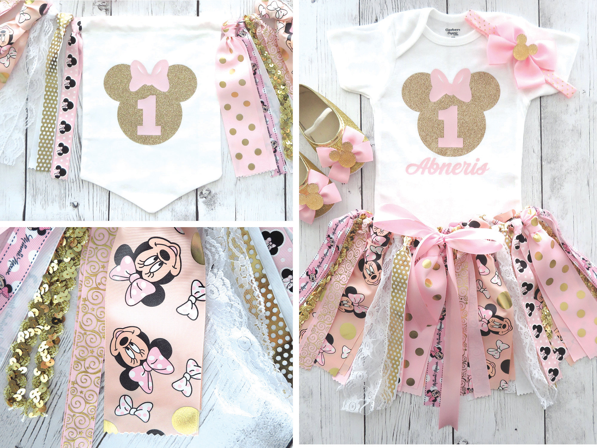 Minnie Mouse First Birthday Outfit with Pink and Gold Tutu and matching High Chair Banner - minnie 1st bday girl, minnie 1st birthday banner