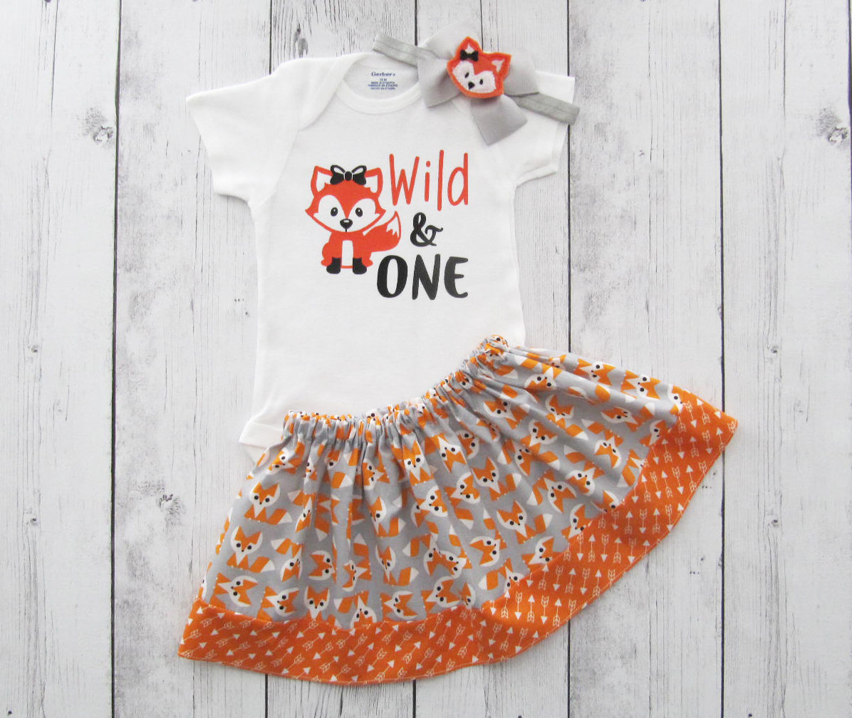 LAST ONE! Fox First Birthday Outfit in Orange and Grey - onesie and skirt, girl birthday outfit, cake smash, fox bow headband, fox girl