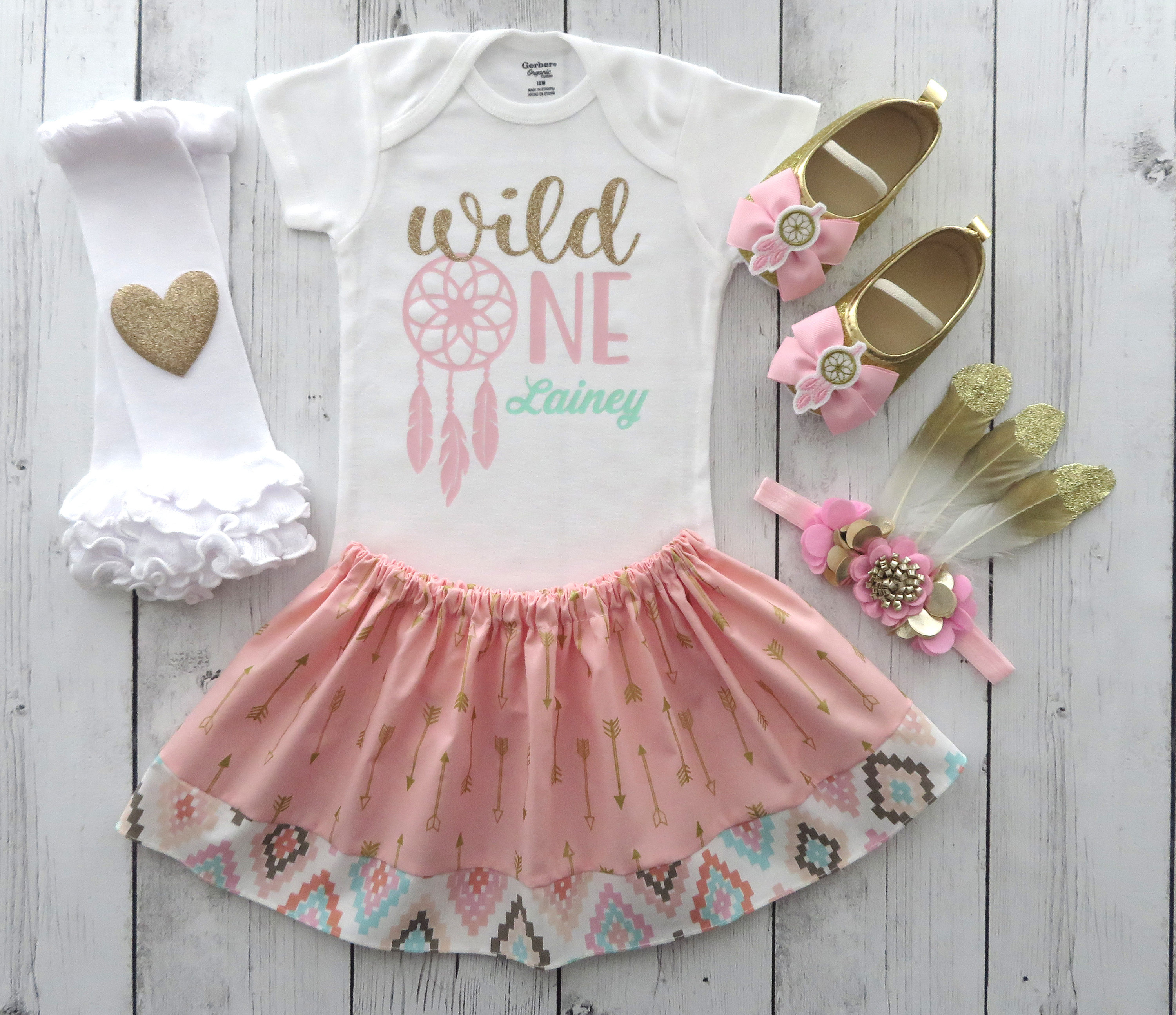 Wild One Outfit Girl with arrow skirt and mocassins - wild one dreamcatcher, pink and gold birthday, feather headband, wild one girl