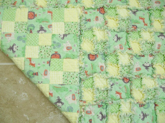 Jungle Animal Rag Quilt for Baby/Toddler in mint green and yellow - unisex rag quilt, cuddle blanket