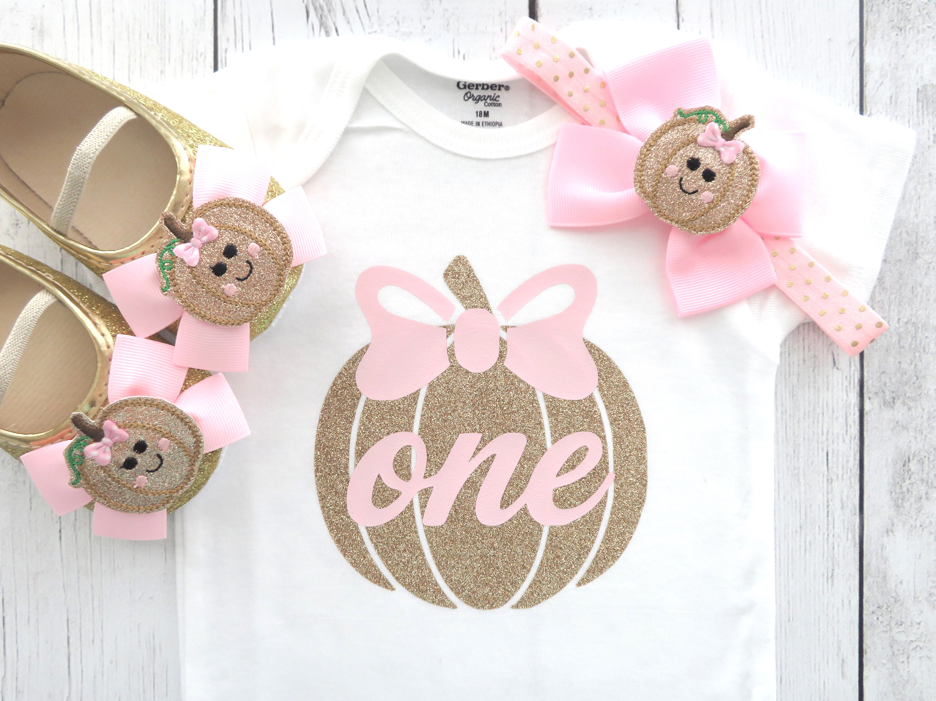 Pumpkin First Birthday Onesie in pink and gold - fall birthday, our little pumpkin is turning one, 1st bday outfit girl, pumpkin pink