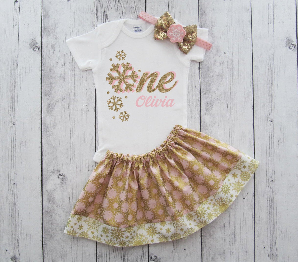 Pink and Gold Winter ONEderland First Birthday Outfit - twirl skirt, girl birthday, snowflake one, pink gold snowflake, winer 1st birthday