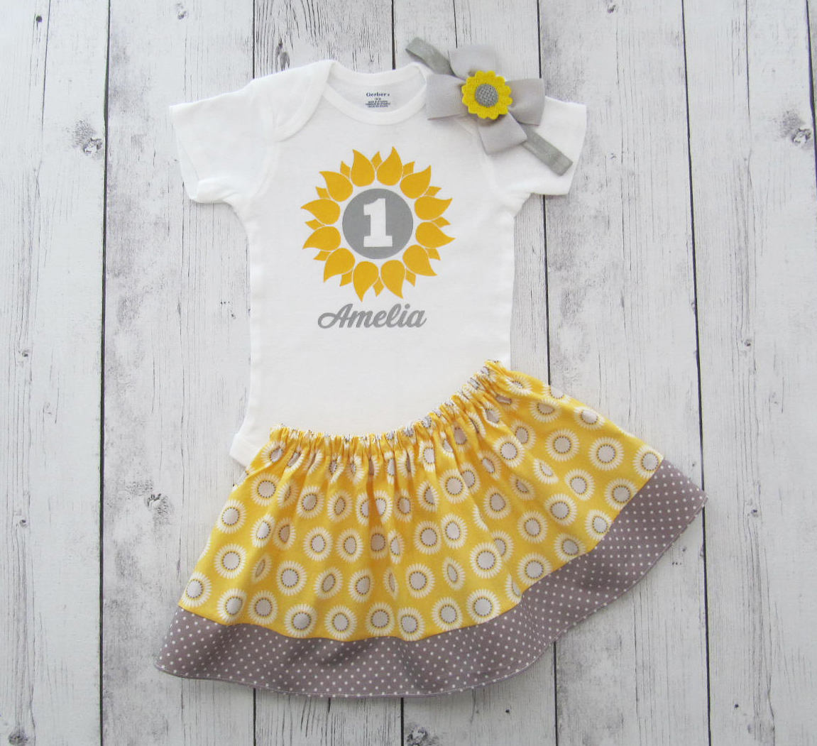 Sunflower First Birthday Outfit in yellow and grey sunflower print - onesie and skirt, girl birthday outfit, fall birthday, sunflower girl
