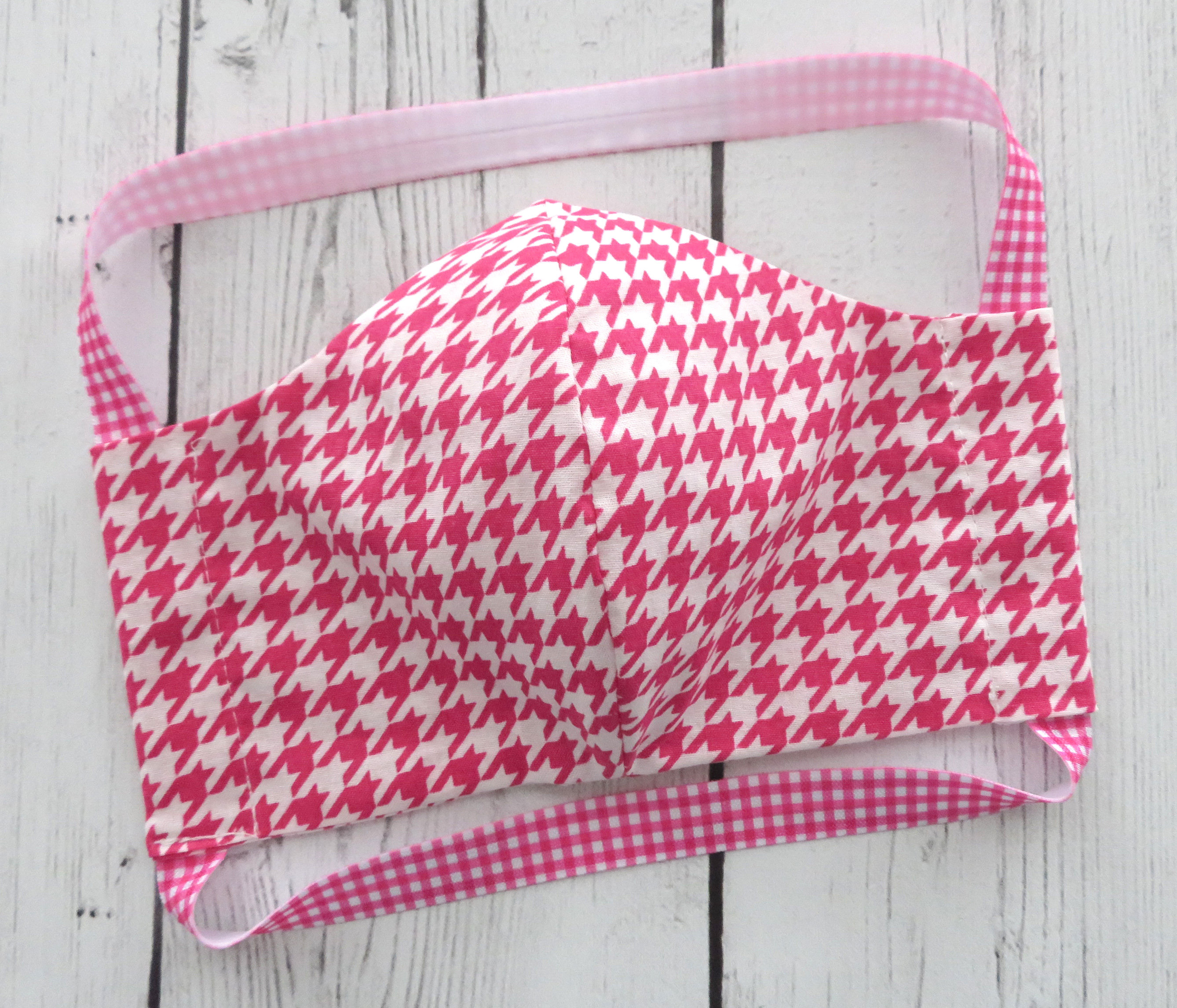 Hot Pink Houndstooth Face Mask - READY TO SHIP! - handmade cotton face mask  for adult, washable and re-usable, ear saver design