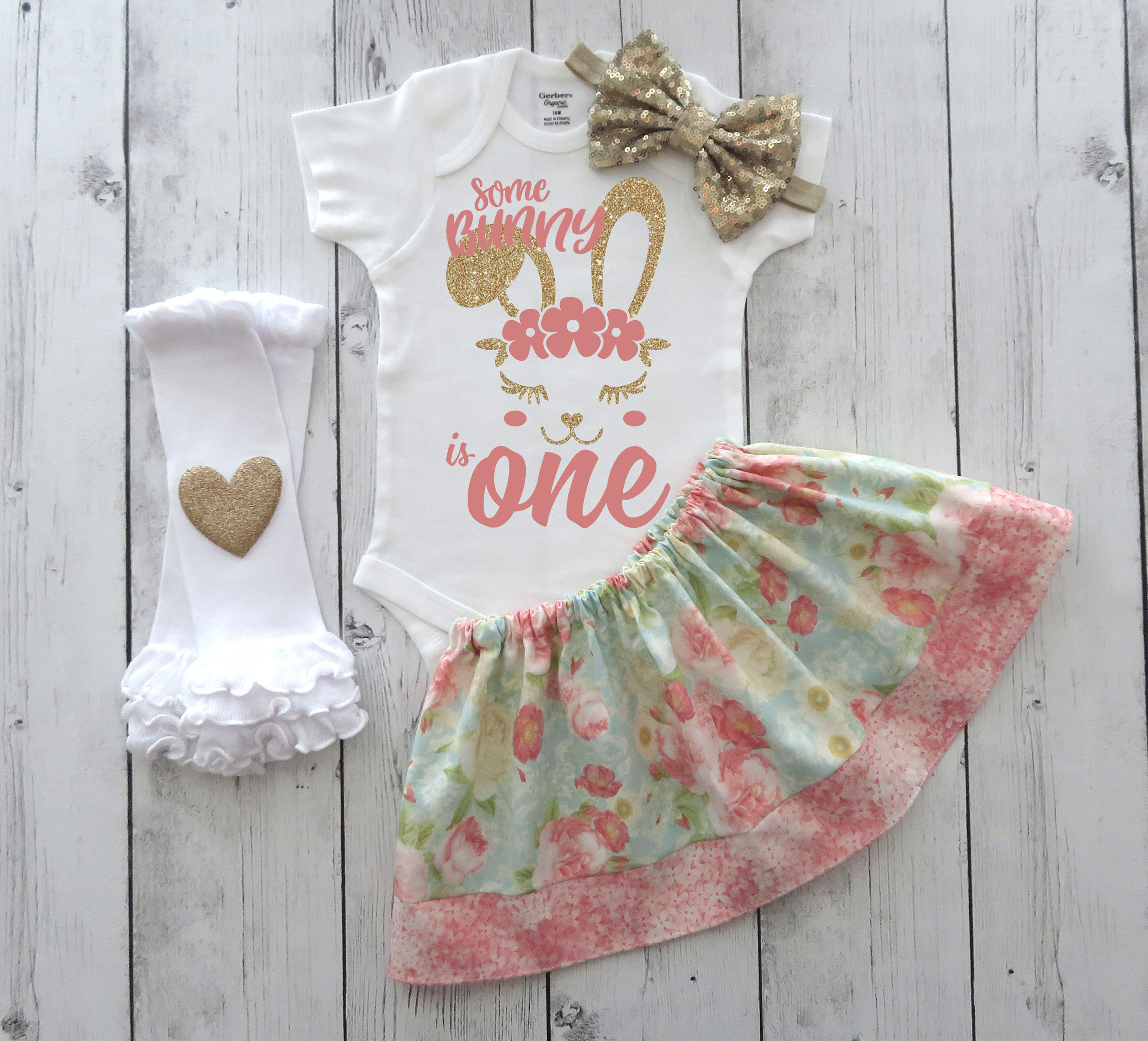 Some Bunny is One Outfit - bunny 1st bday outfit girl, easter birthday, spring bday, coral and gold