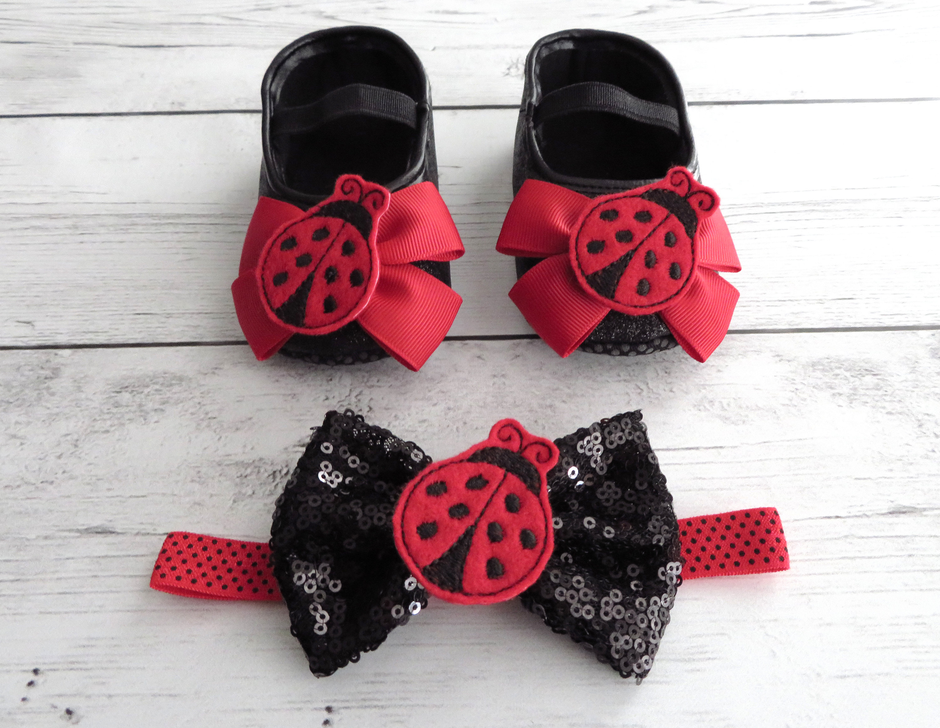 Ladybug First Birthday Shoes & Headband for Girl -  black glitter shoes, 1st bday shoes red black, lady bug birthday, ladybug 1st birthday