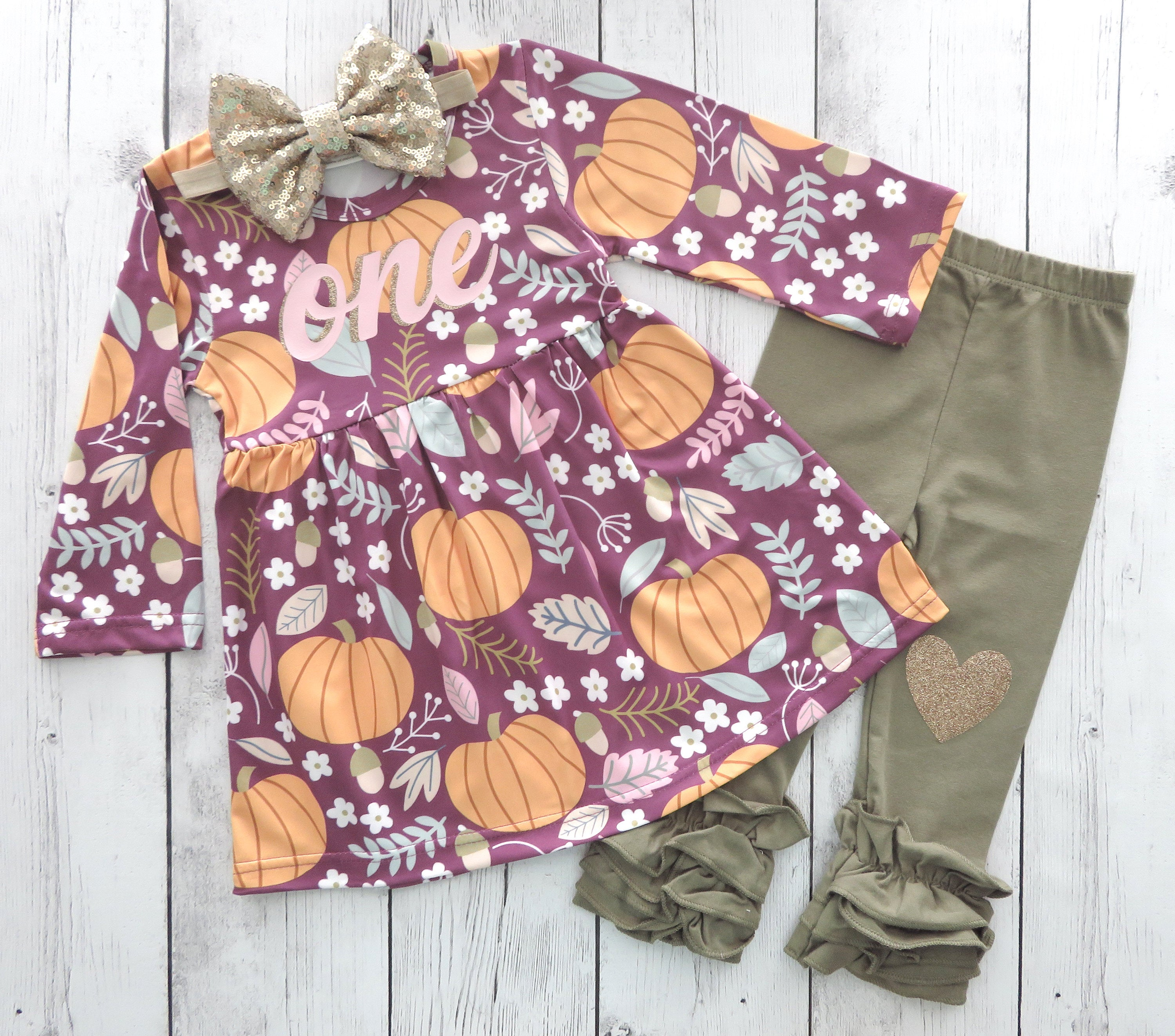 Pumpkin First Birthday Oufit in Burgandy print - pumpkin 1st bday outfit, our little pumpkin is one, fall birthday, mauve pumpkin birthday