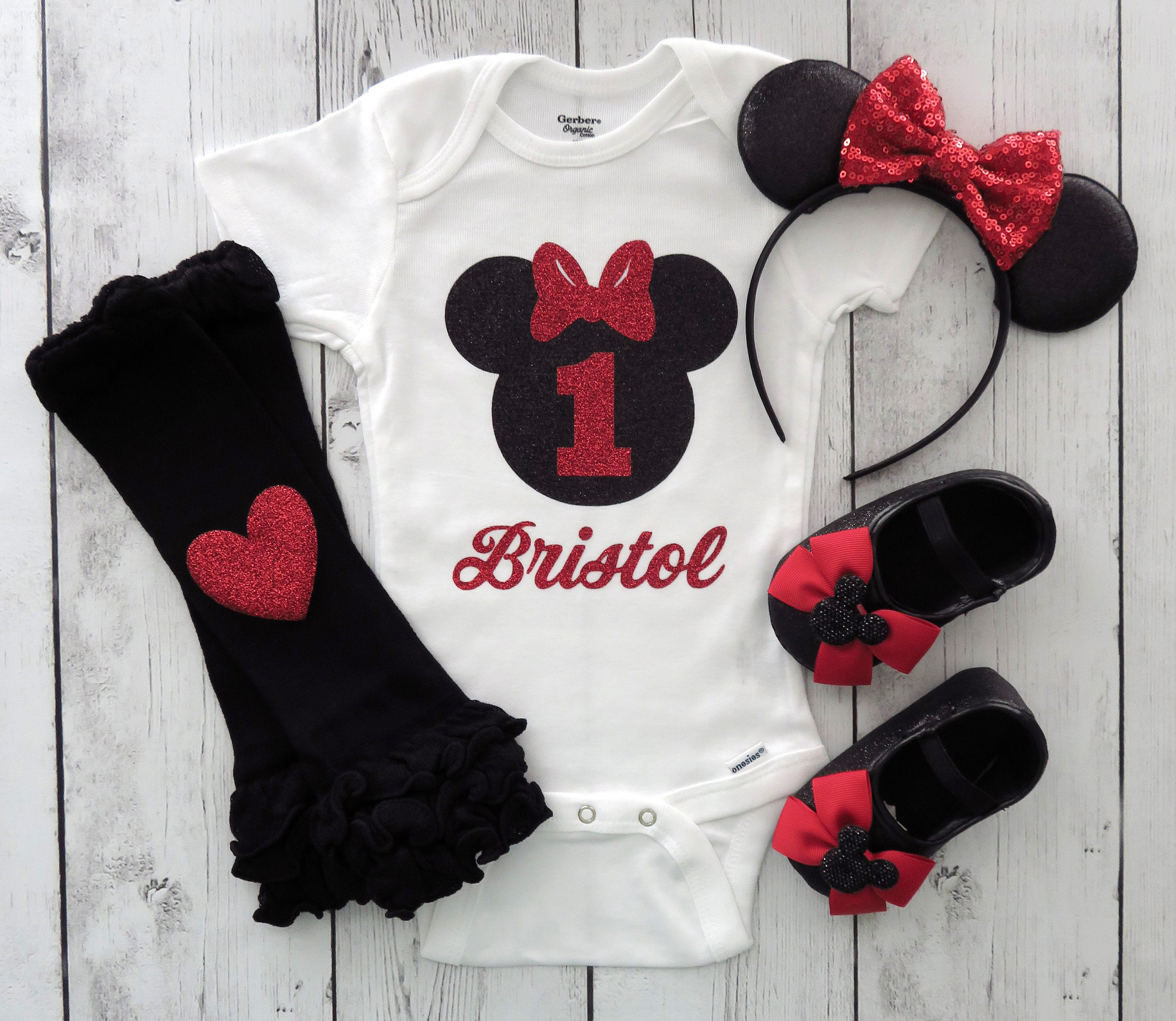 Minnie Mouse First Birthday Onesie with matching shoes and minnie ears in red - personalized outfit, minnie mouse birthday shirt, 1st bday
