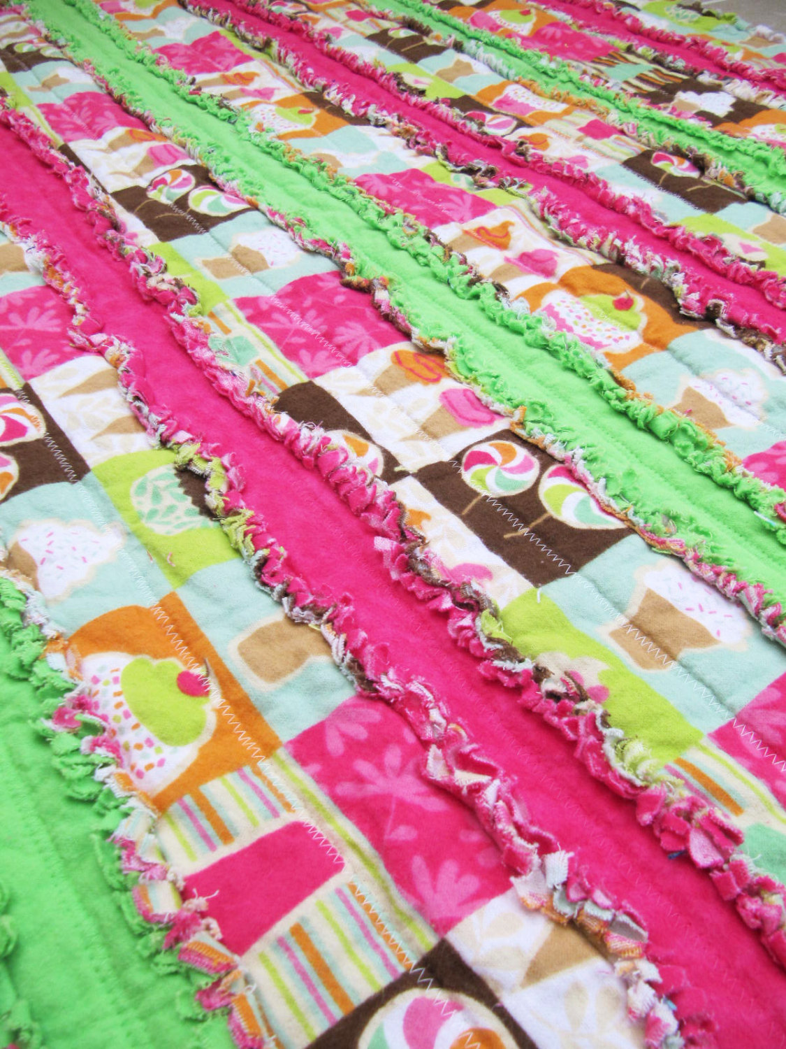 Candy Jelly Roll Rag Quilt -  hot pink, lime green, cupcake, sundae, baby girl blanket, toddler blanket
