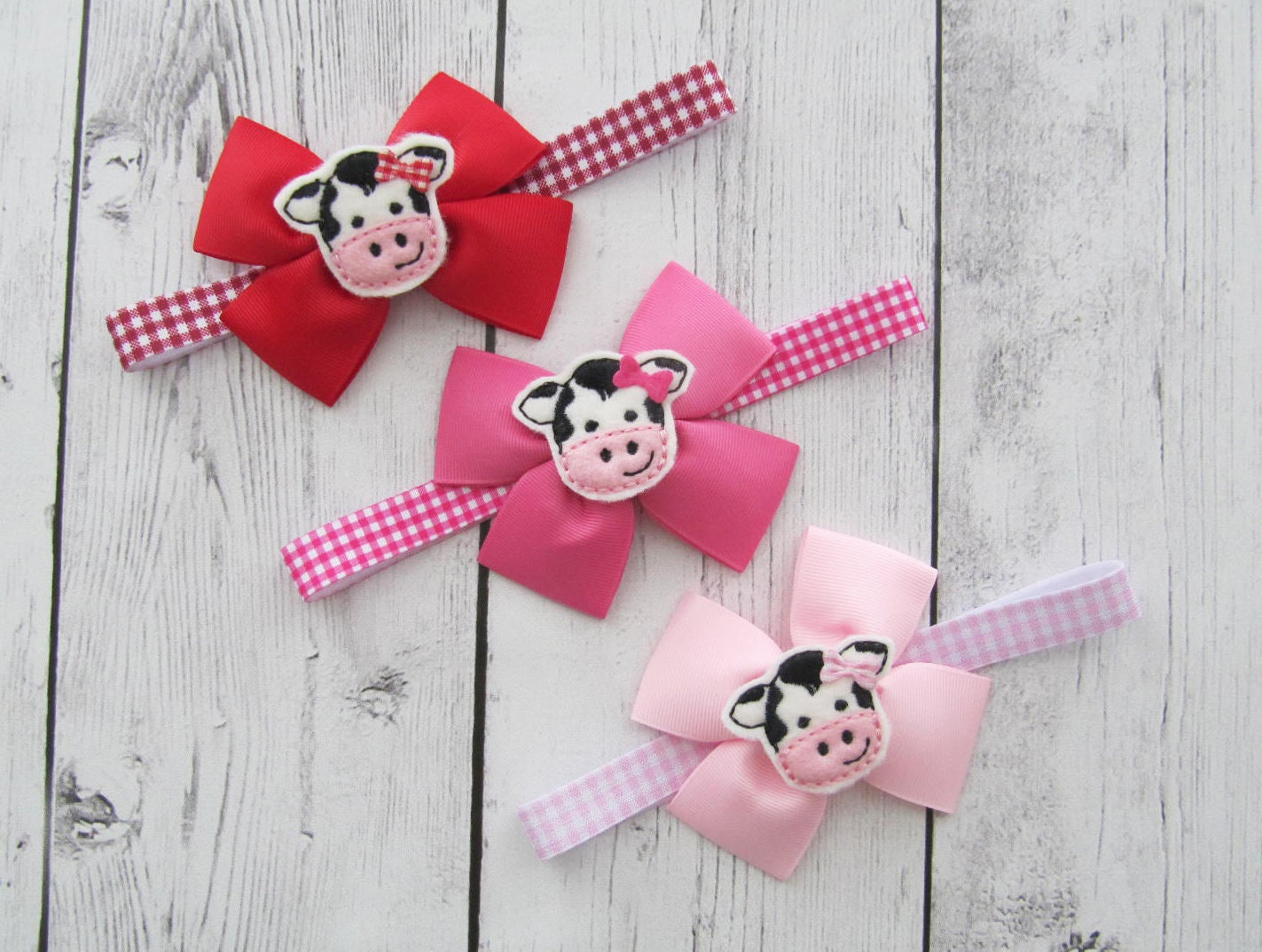 Cow Bow Headband for Baby Girl - cow birthday, pink bow, baby girl headband, gingham bow headband, pink, red