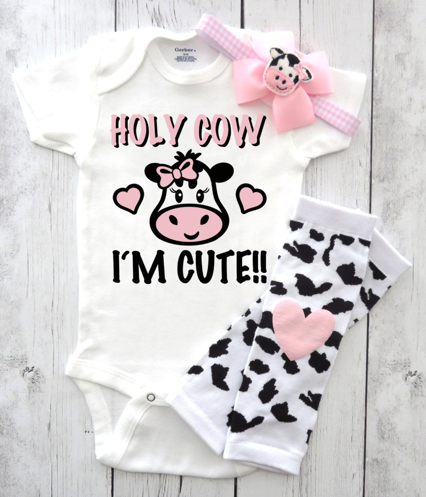 Holy Cow I'm Cute! Onesie for baby girl - cute cow bodysuit, cow themed baby shower, baby shower gift, cow baby, barnyard baby shower