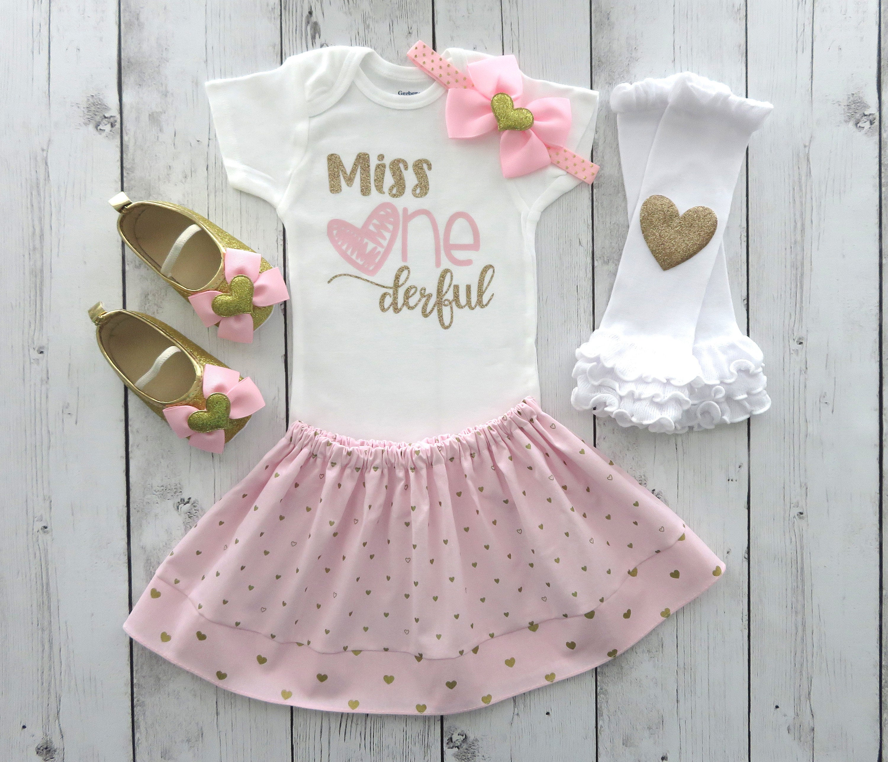 Miss Onederful First Birthday Outfit in pink and gold hearts - first birthday outfit pink and gold, hearts birthday dress, gold shoes