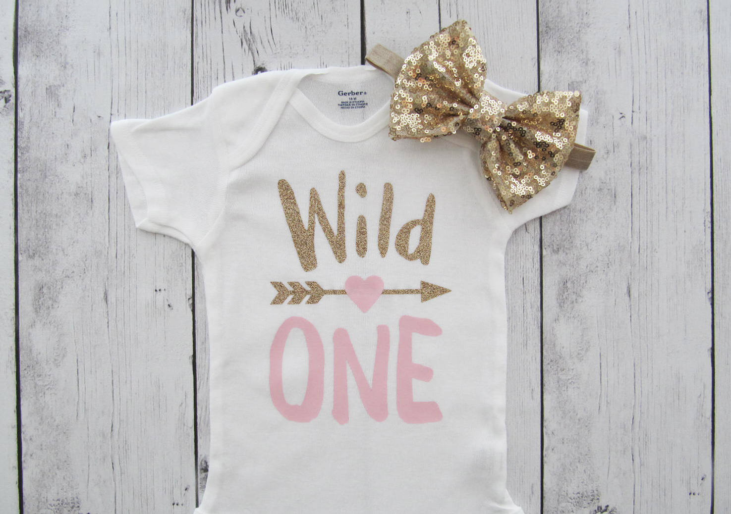 SALE - Wild One Birthday Onesie - wild one shirt, first birthday shirt, wild one girl, wild one birthday girl, wild one birthday, pink gold