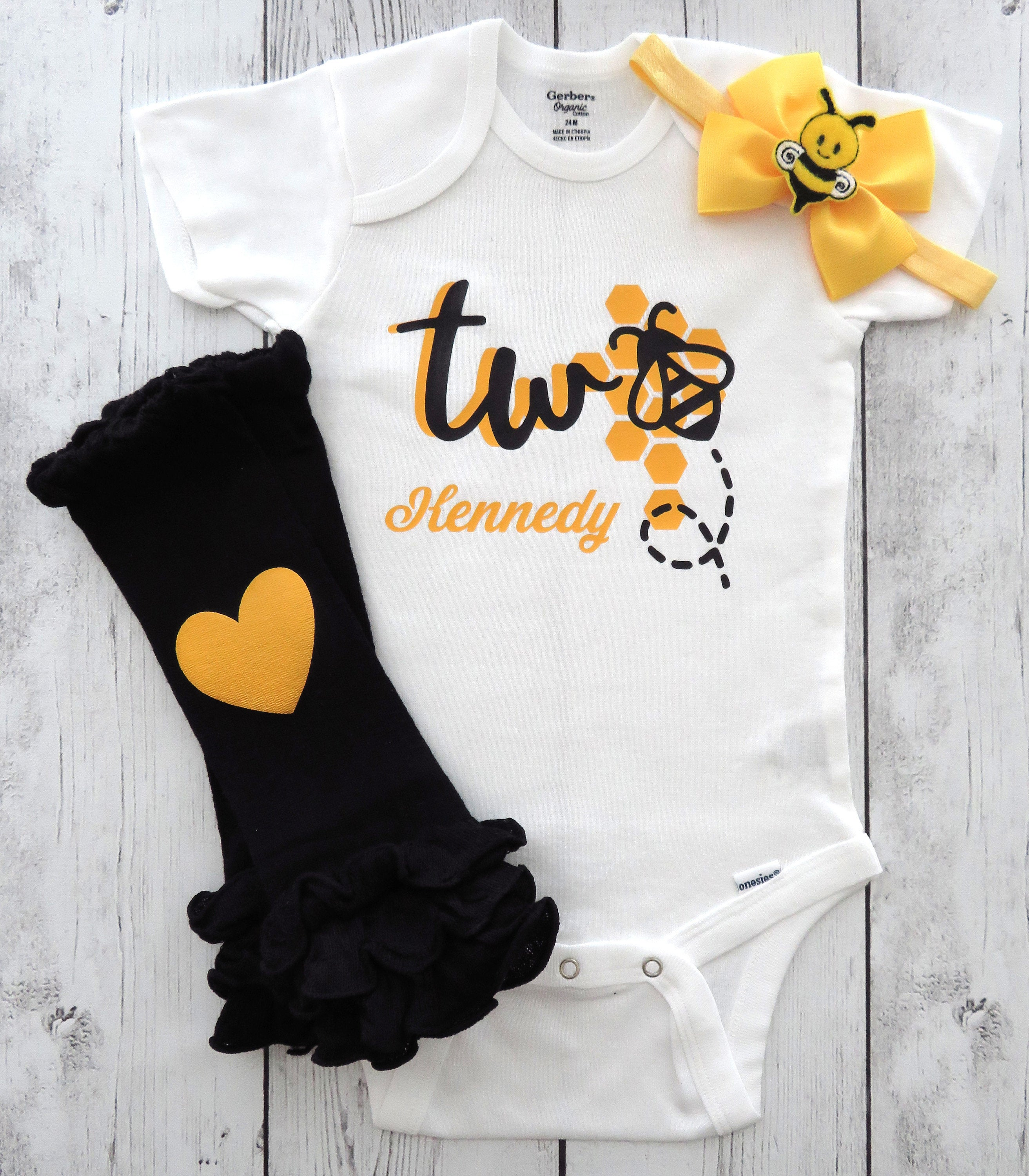 Bumble Bee Second Birthday Onesie in yellow and black - Second bee-day birthday outfit, bee 1st bday outfit, second birthday girl bumblebee