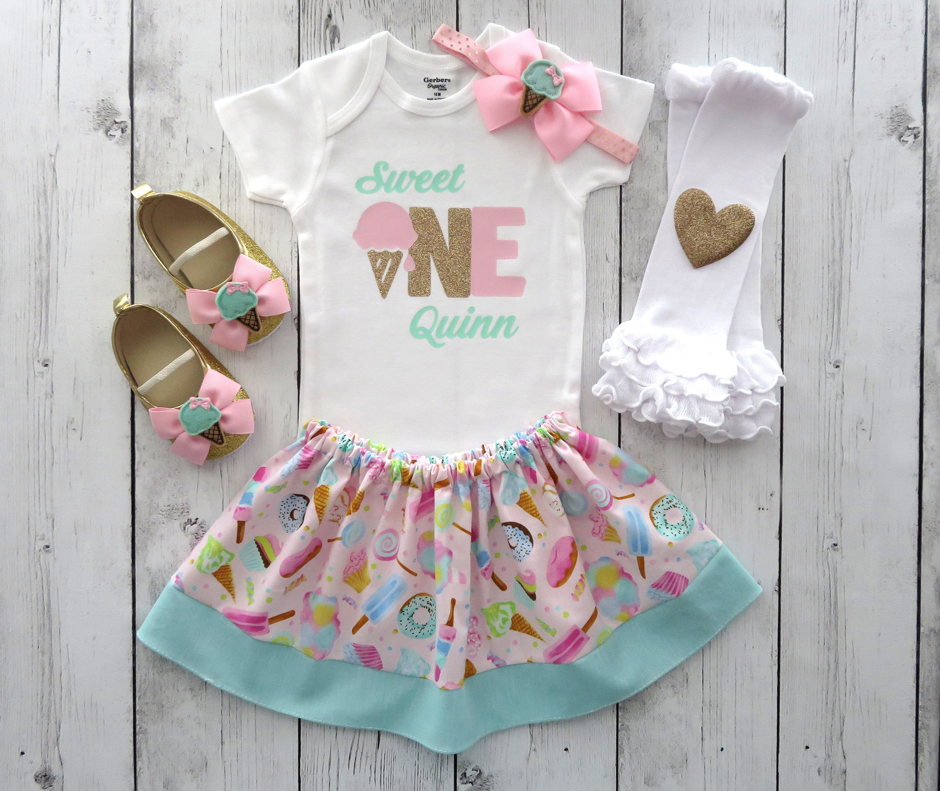 Sweet One First Birthday Outfit in pink, mint and gold - girl 1st bday outfit, ice cream shoes, its sweet to be one, ice cream birthday girl