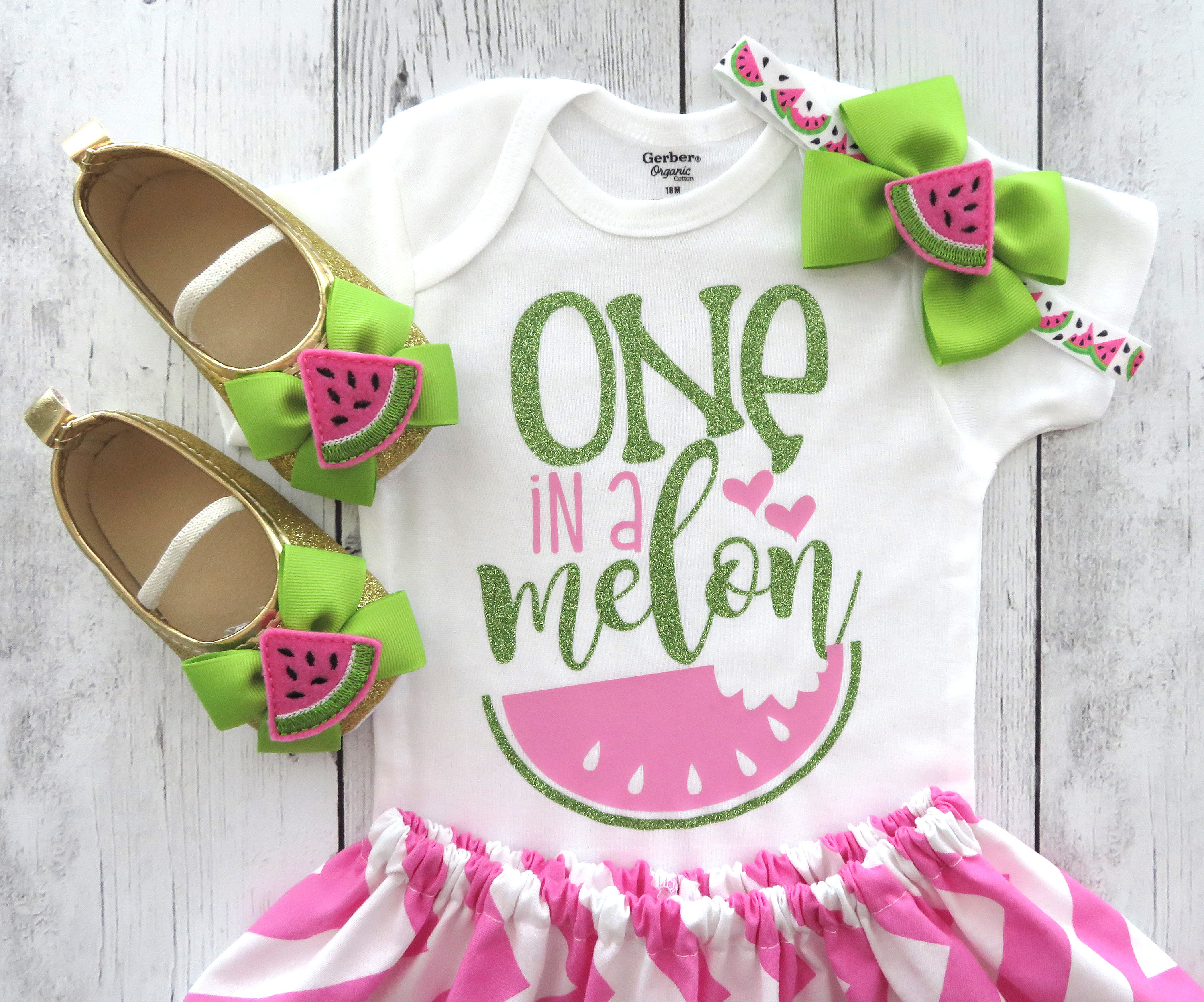 One in a Melon - Watermelon First Birthday Outfit - pink lime, watermelon birthday, summer birthday girl, watermlon dress, 1st birthday girl