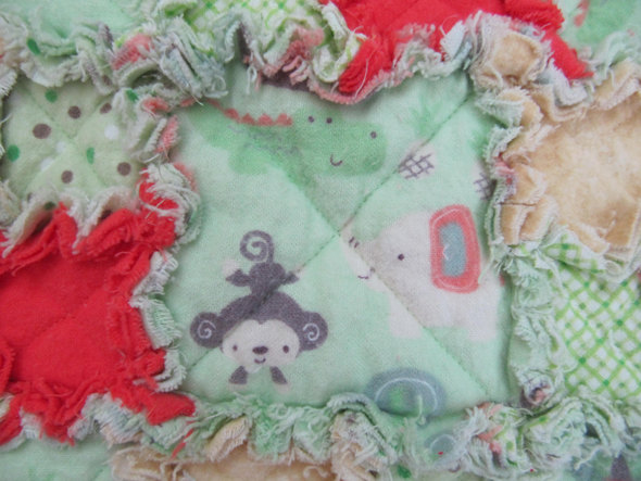 CLEARANCE SALE ----- Unisex Rag Quilt for Baby/Toddler in Mint Green Jungle -tan, orange, baby boy, baby girl, baby shower gift,