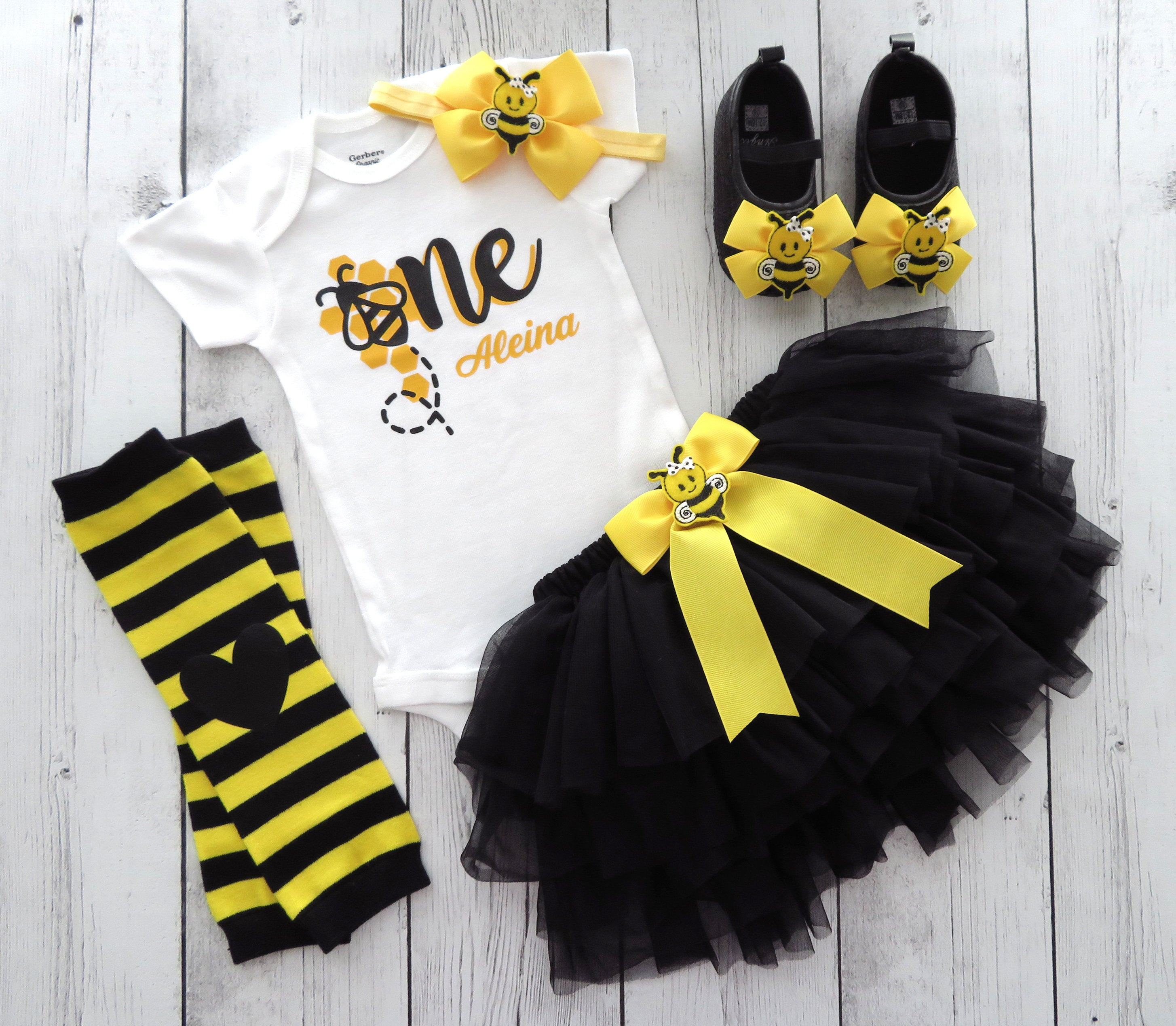 Bumble Bee First Birthday Outfit for girl with yellow and black tutu bloomers - first bee-day birthday outfit, bee shoes, 1st bday outfit