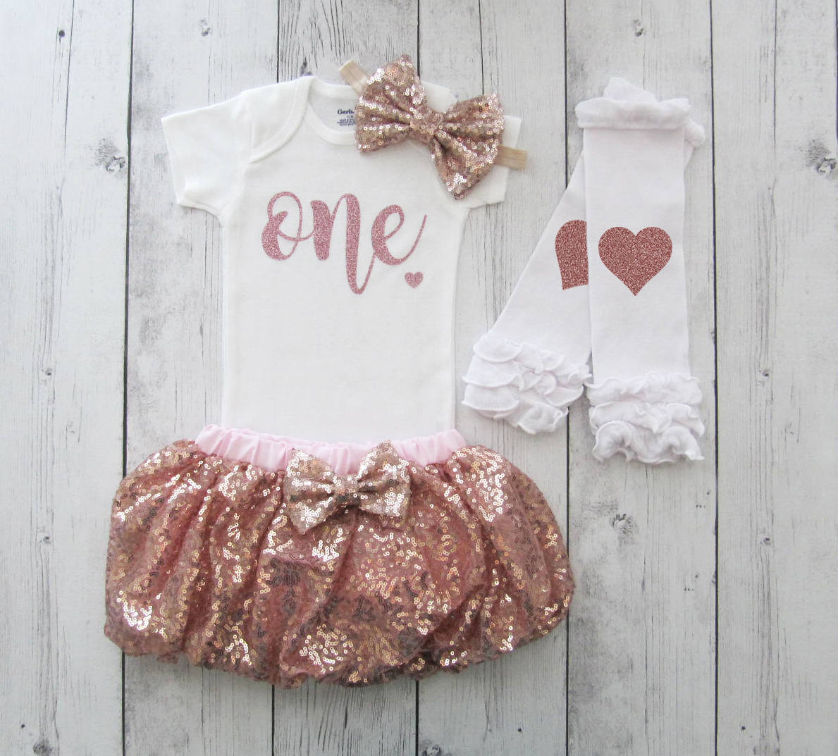 Rose Gold First Birthday Outfit for baby girl - rose gold sequin skirt, dusty rose birthday outfit girl, rose gold 1st birthday tutu girl