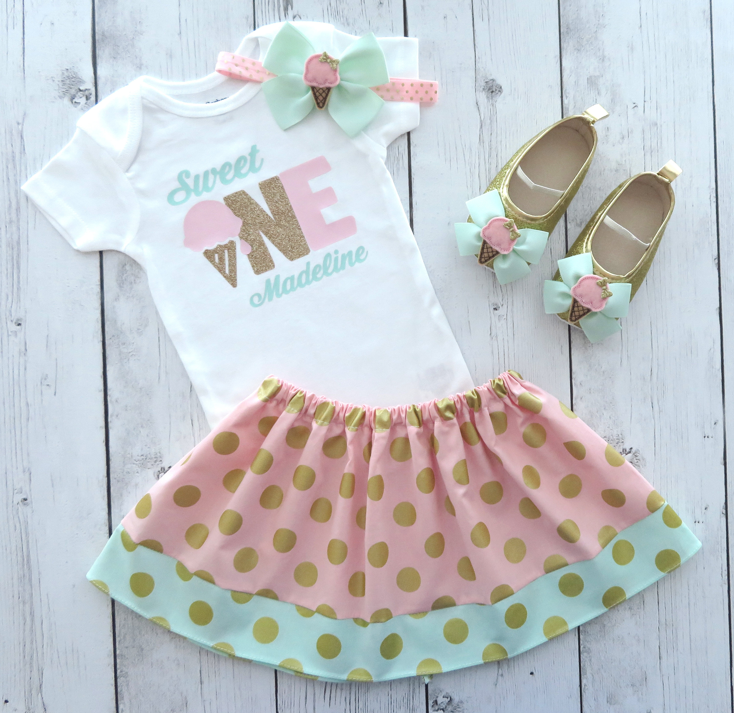 Sweet One First Birthday Outfit - Ice Cream first birthday outfit girl, sweet one birthday party, mint pink gold, ice cream bday party girl