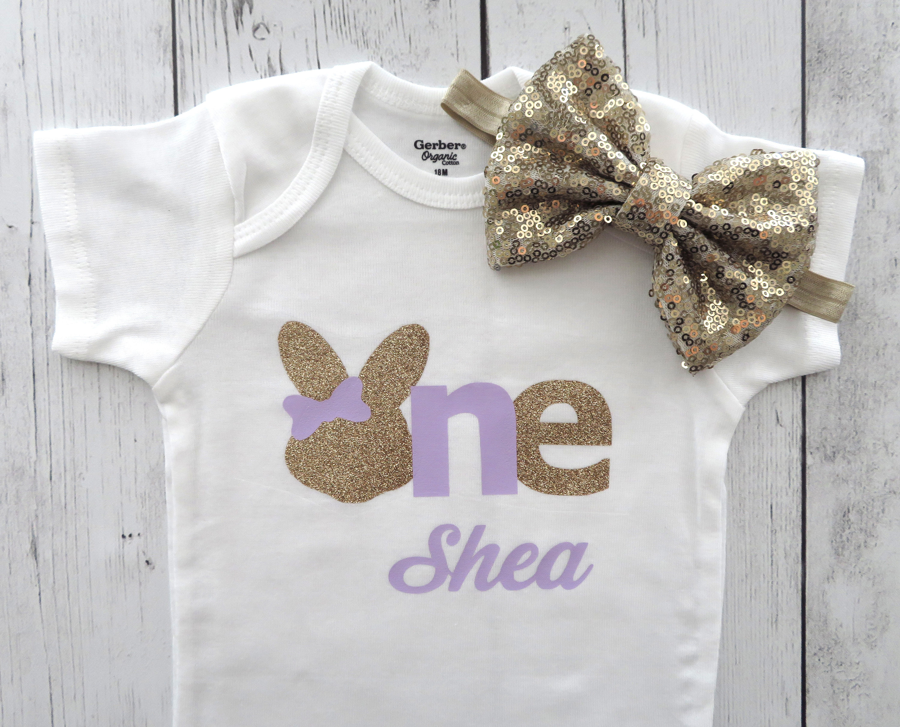 Bunny One First Birthday Onesie - purple and gold glitter, personalized, some bunny is one, bunny rabbit birthday, lavender gold