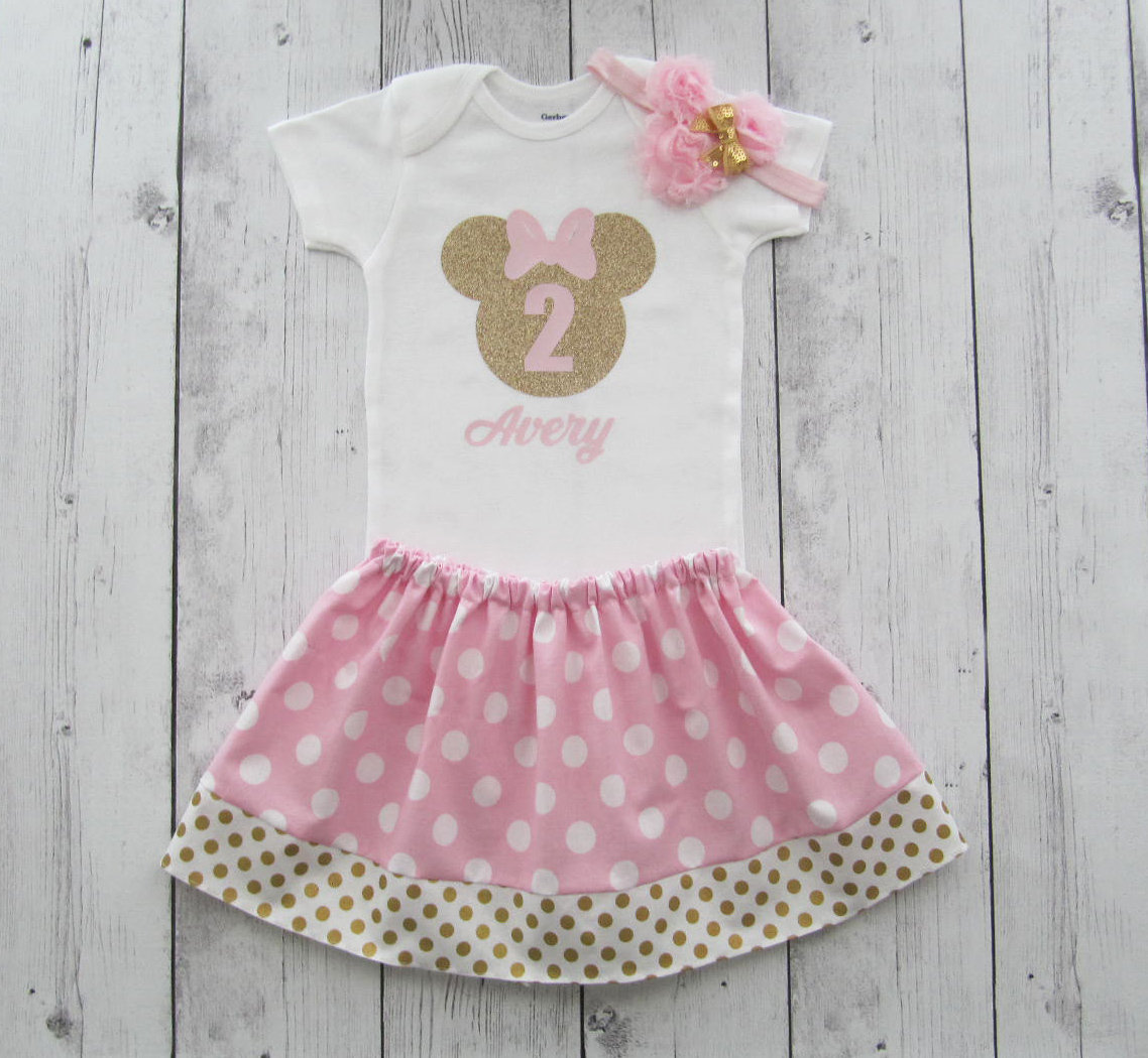 Pink Gold Minnie Mouse Second Birthday Outfit - onesie and skirt, girl birthday, pink gold dress, headband, pink gold minnie mouse birthday