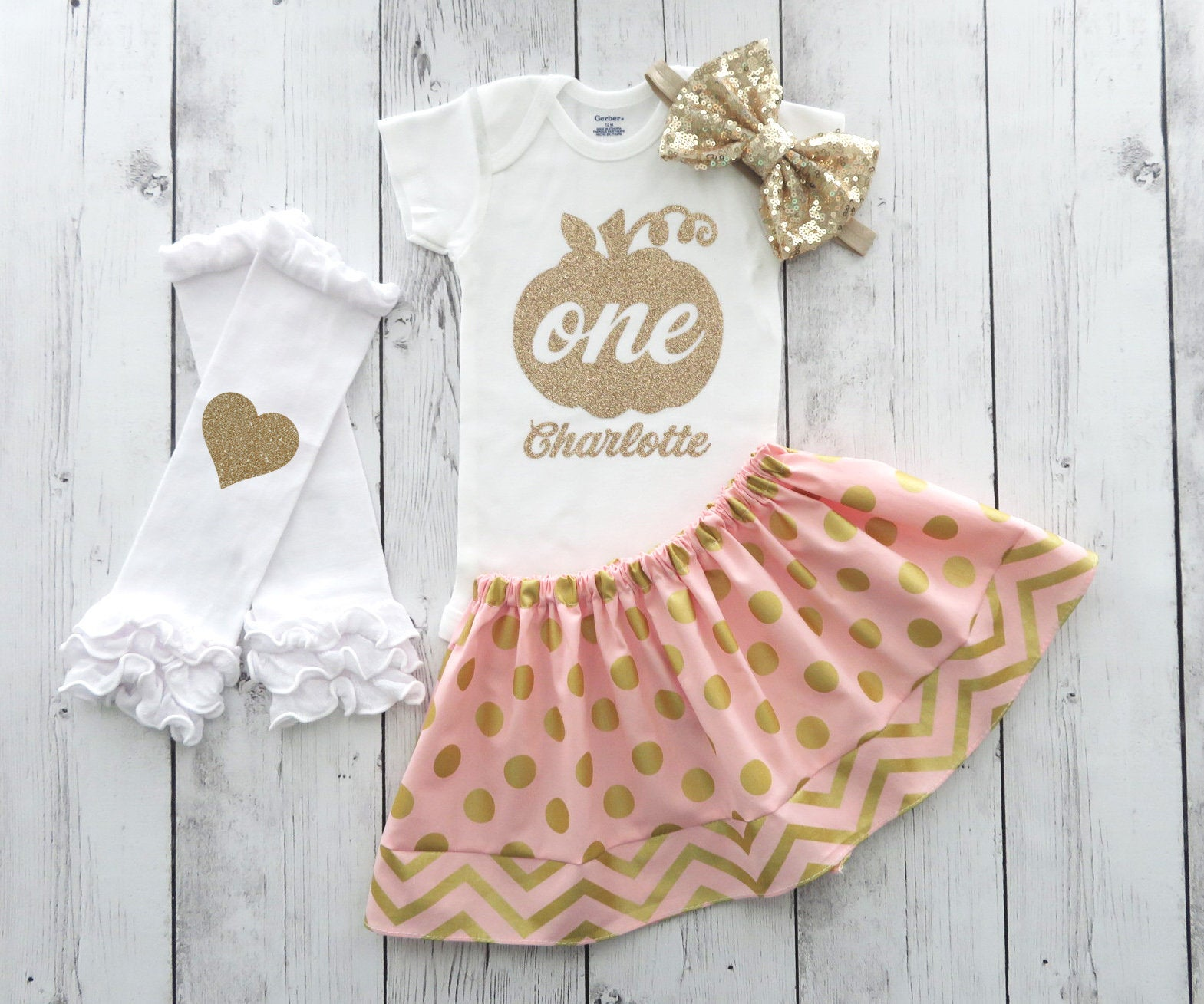 Pumpkin First Birthday Outfit Pink - girl first birthday outfit, pink gold pumpkin, pink orange pumpkin, fall first birthday, fall birthday