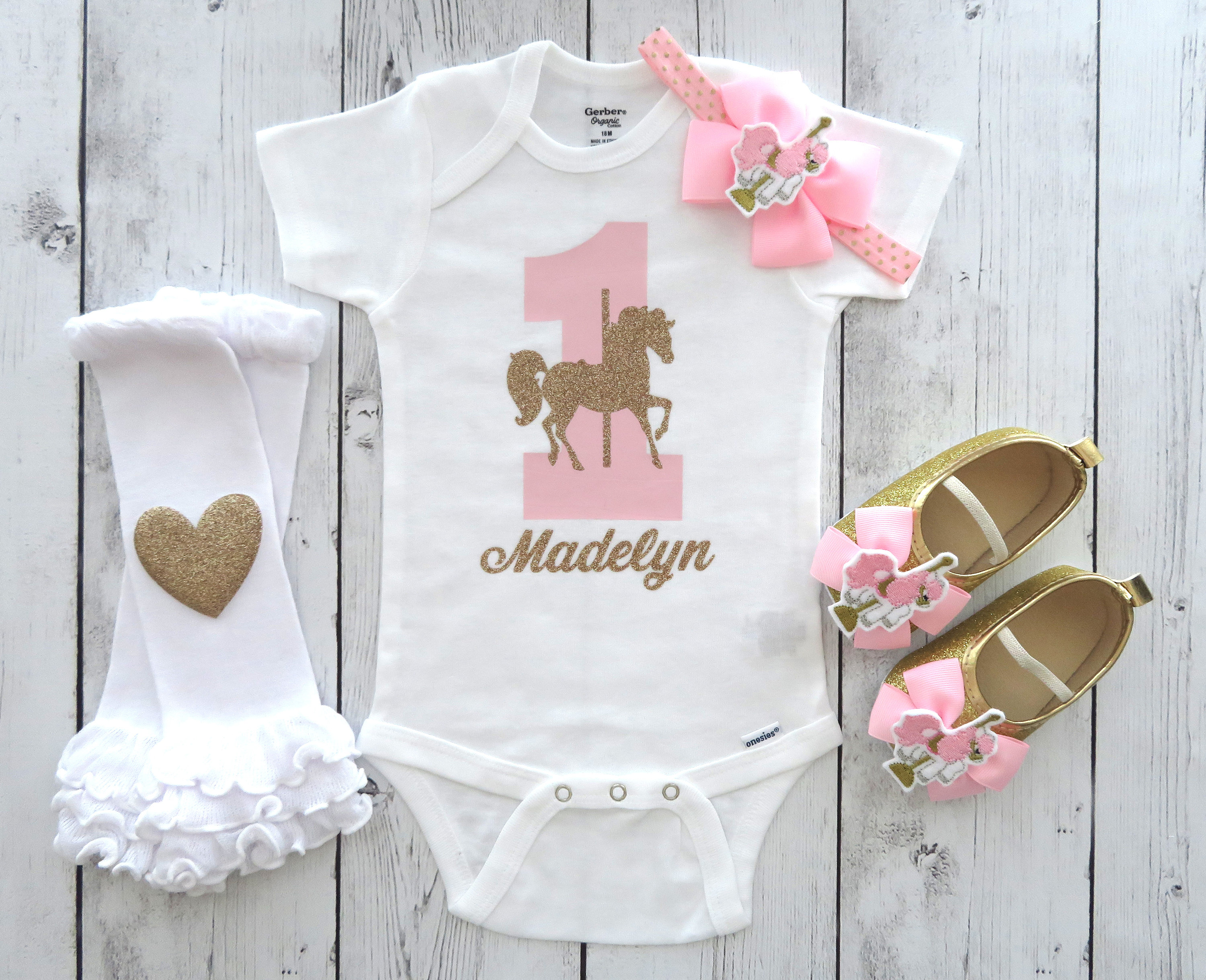 Carousel Horse First Birthday Onesie - pink gold, personalized, first birthday shirt, carousel horse pink gold, carousel horse shoes